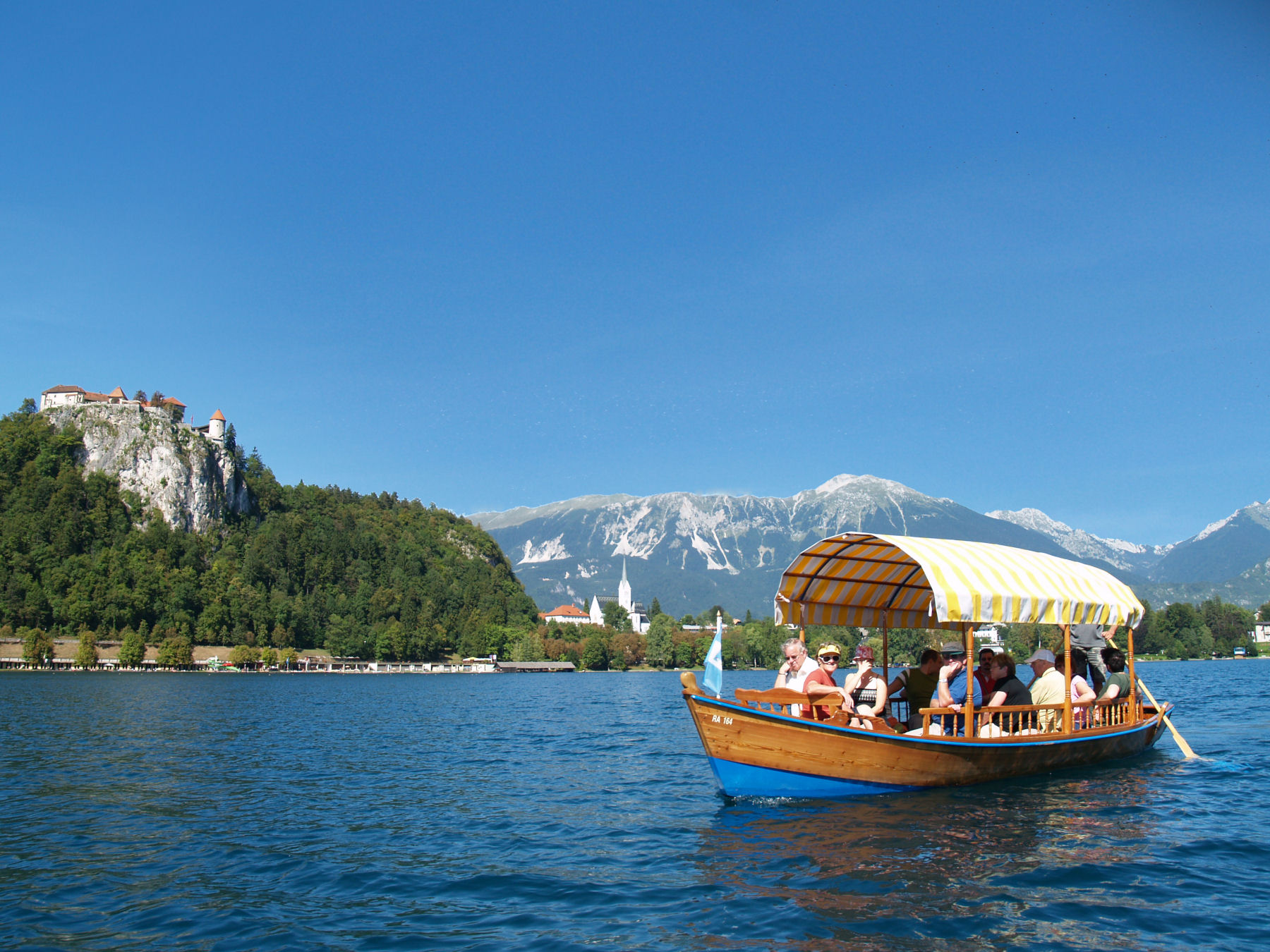 You need to travel by gondola, known here as Pletna to visit the Lake Bled island