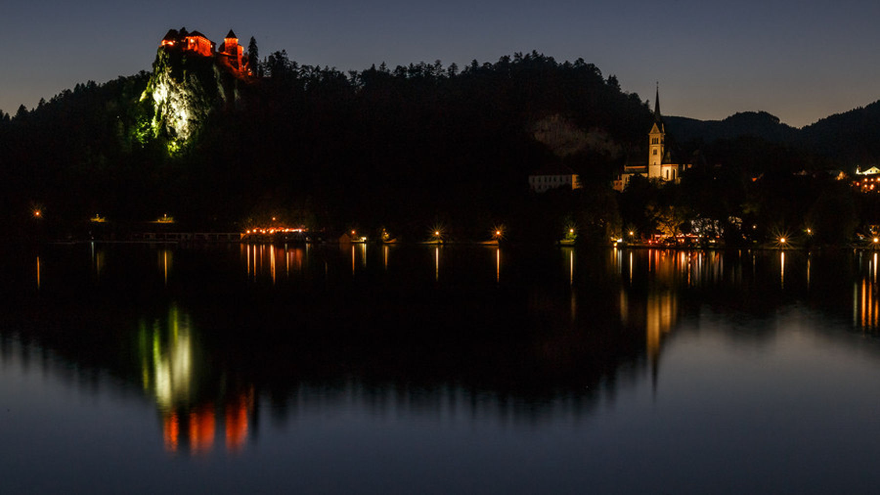 A walk by Lake Bled when lit up at night is truly magical