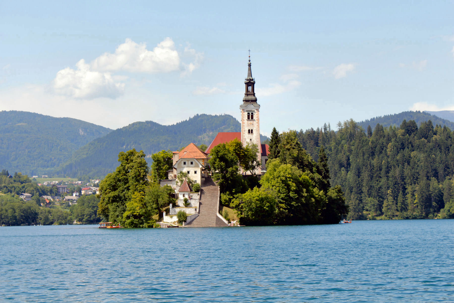 Picture-postcard island with its glorious Gothic church in the middle of Lake Bled