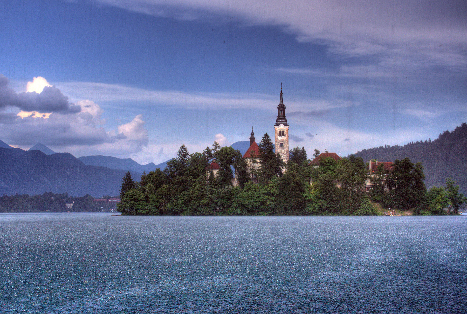 Lake Bled is beautiful even when it rains