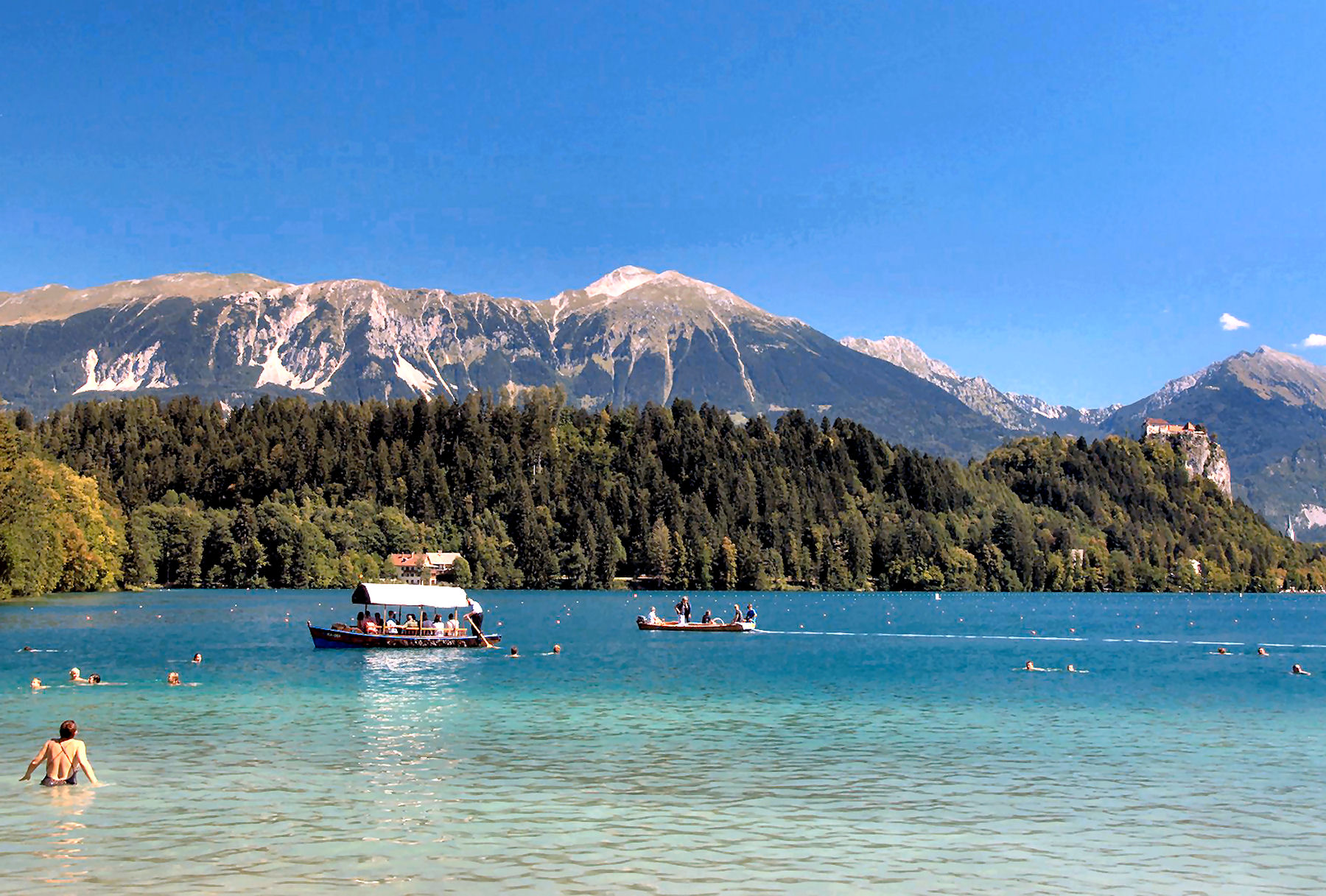 Swimming season in Lake Bled lasts from June to late September