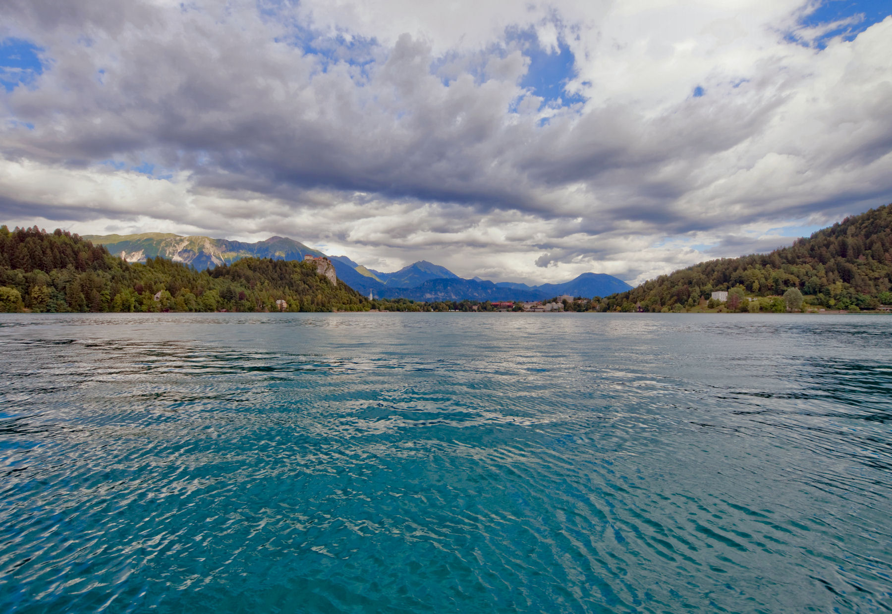 The water of Lake Bled is still clean