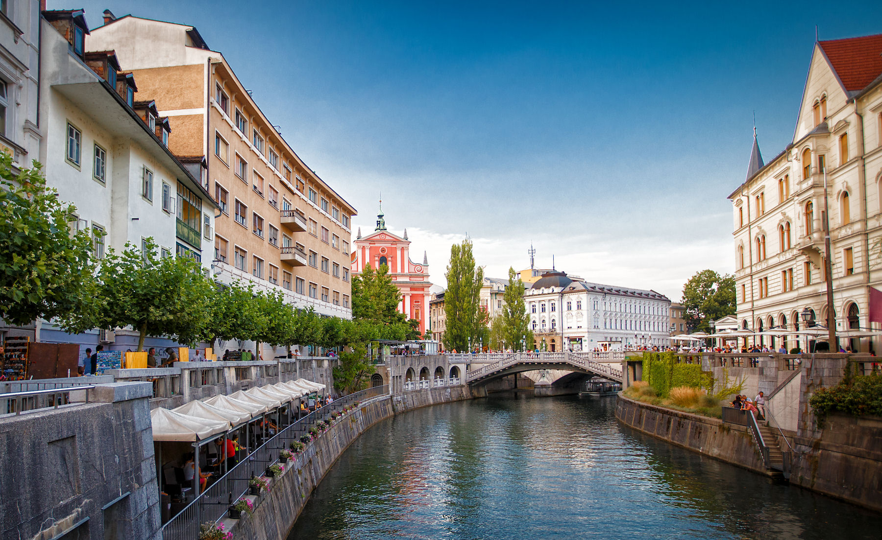 The Ljubljana river runs through the center of the old town