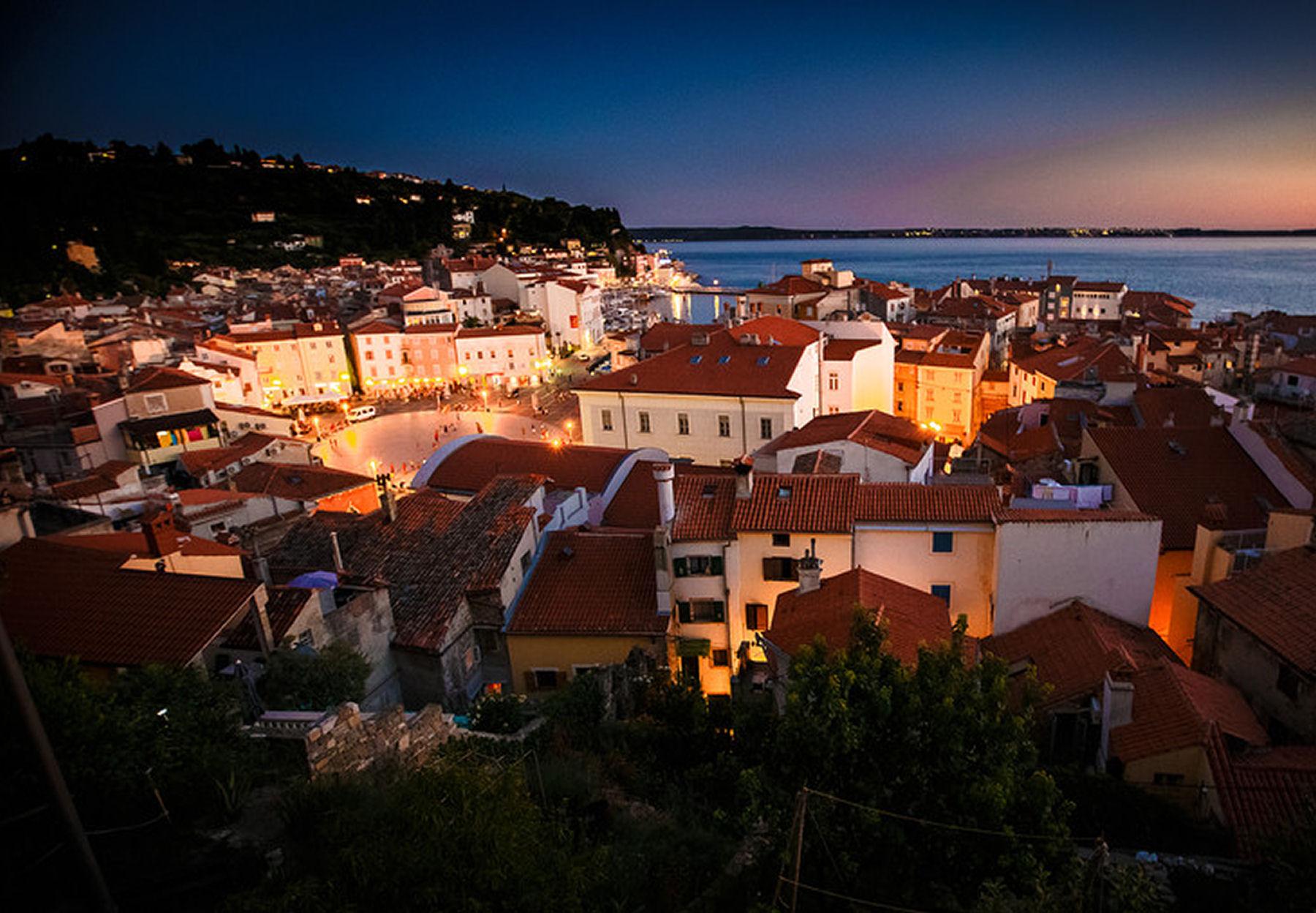 Piran is a lovely town especially when lit up at night