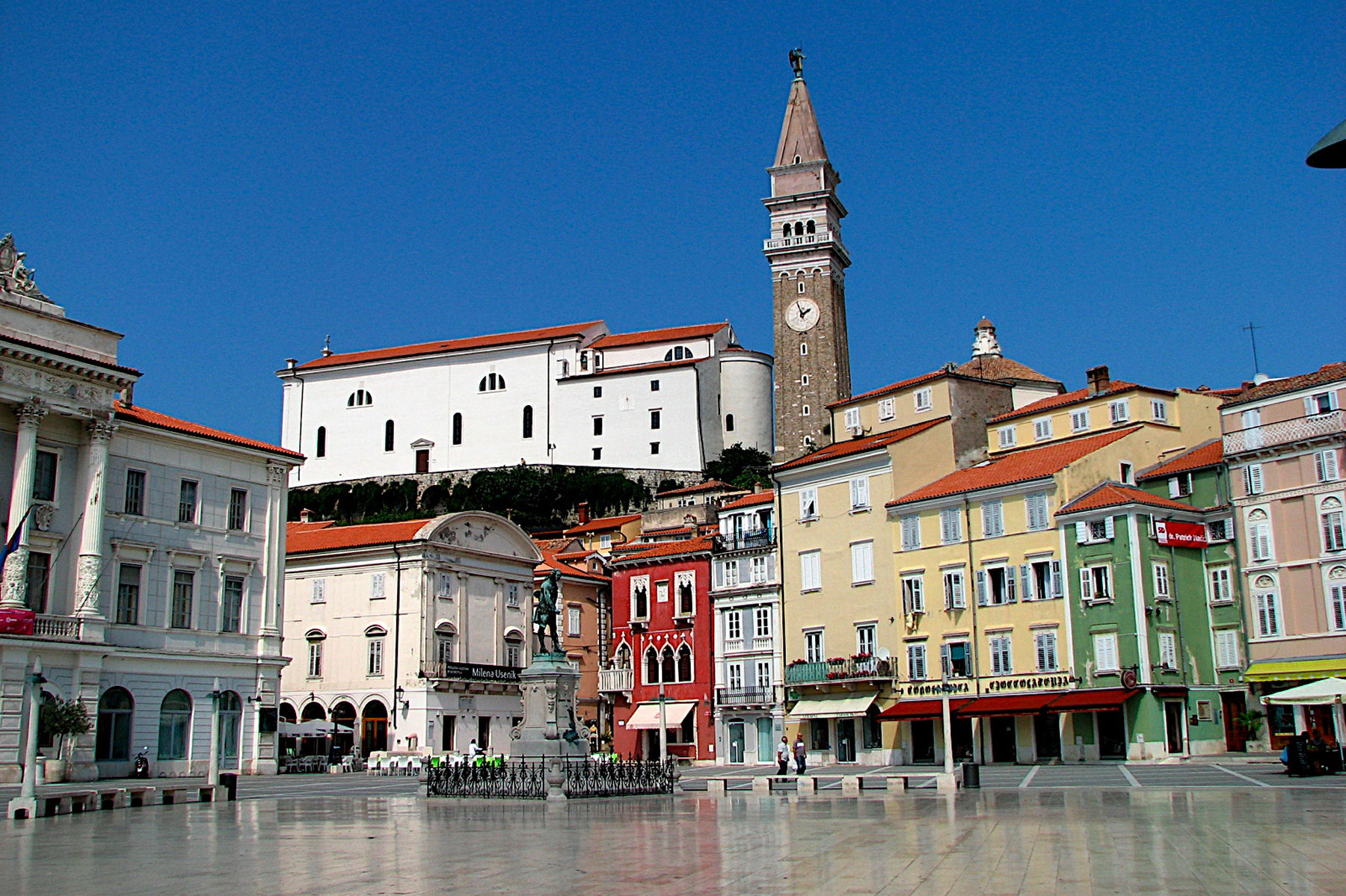 The Tartini Square is the social and cultural centre of Piran