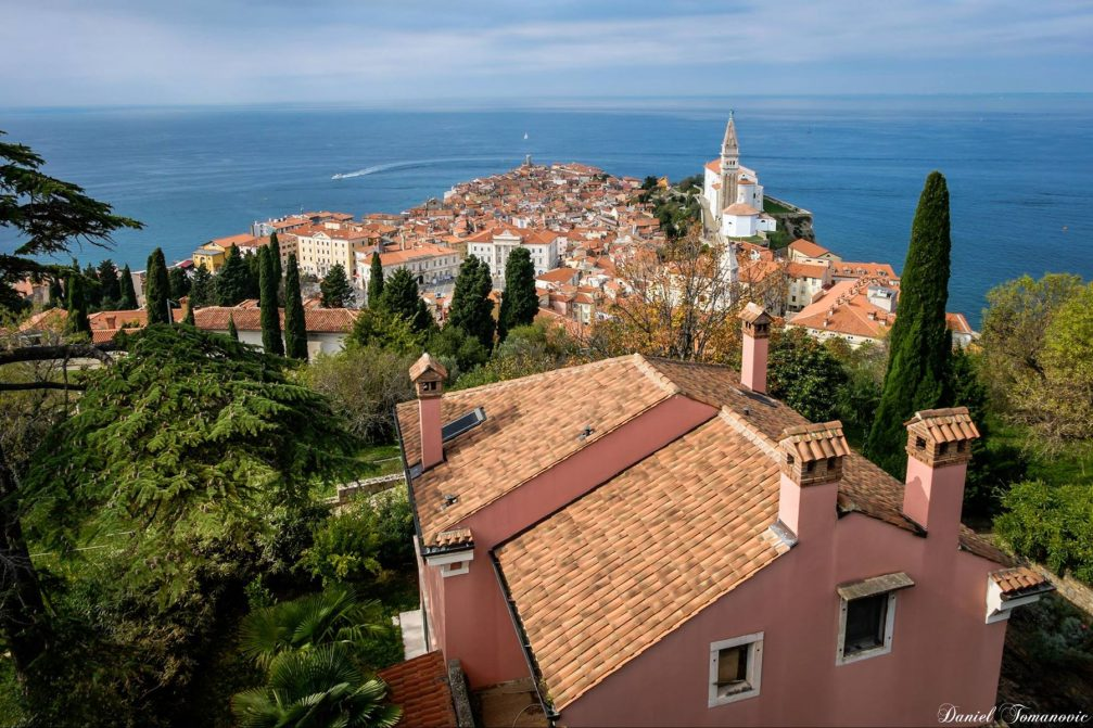 A beautiful elevated view of the coastal town of Piran, Slovenia