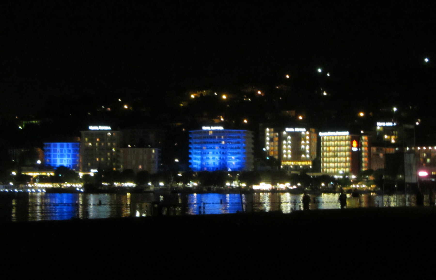 Portoroz is a charming seaside tourist town especially when lit up at night