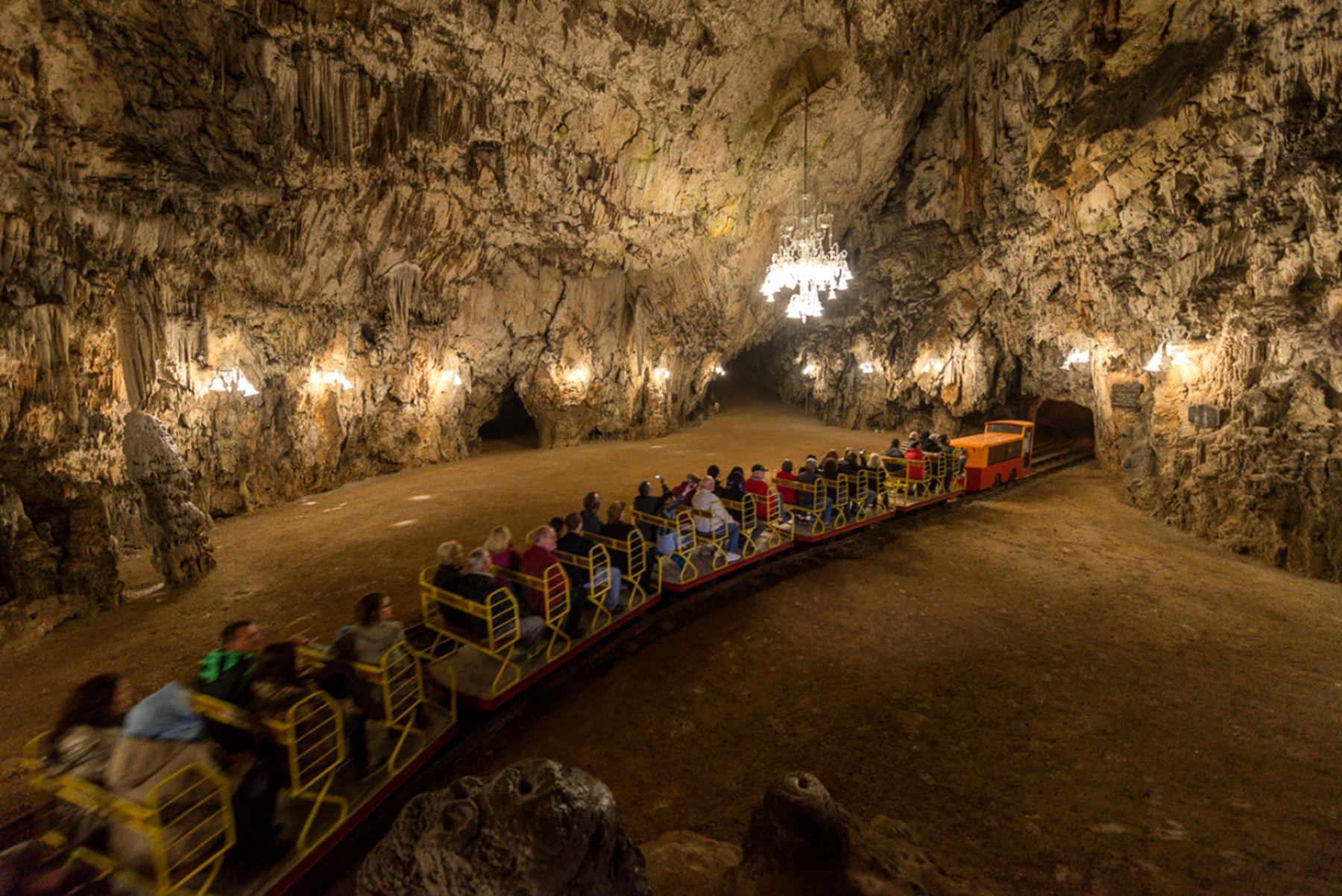 The electric tourist train in the Postojna Cave in Slovenia