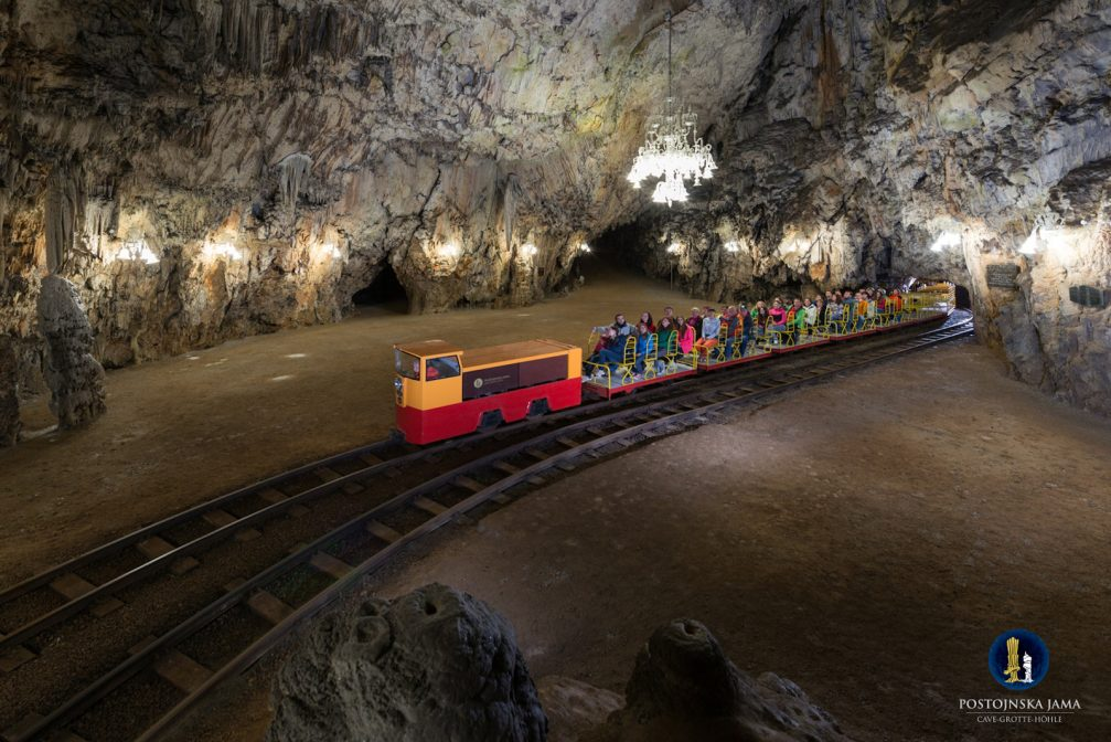 The electric tourist train in the Postojna Cave in Slovenia