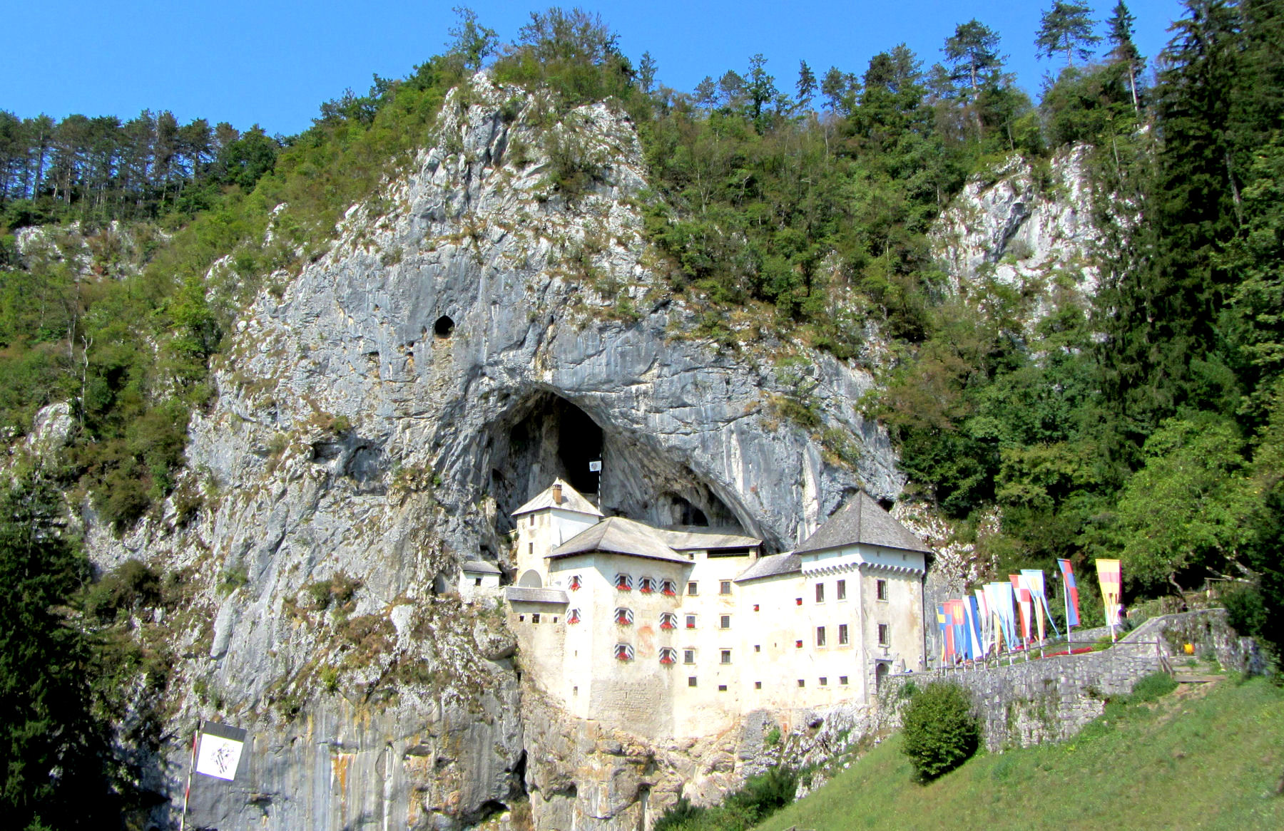 Predjama Castle in Slovenia is built into the mouth of a cave
