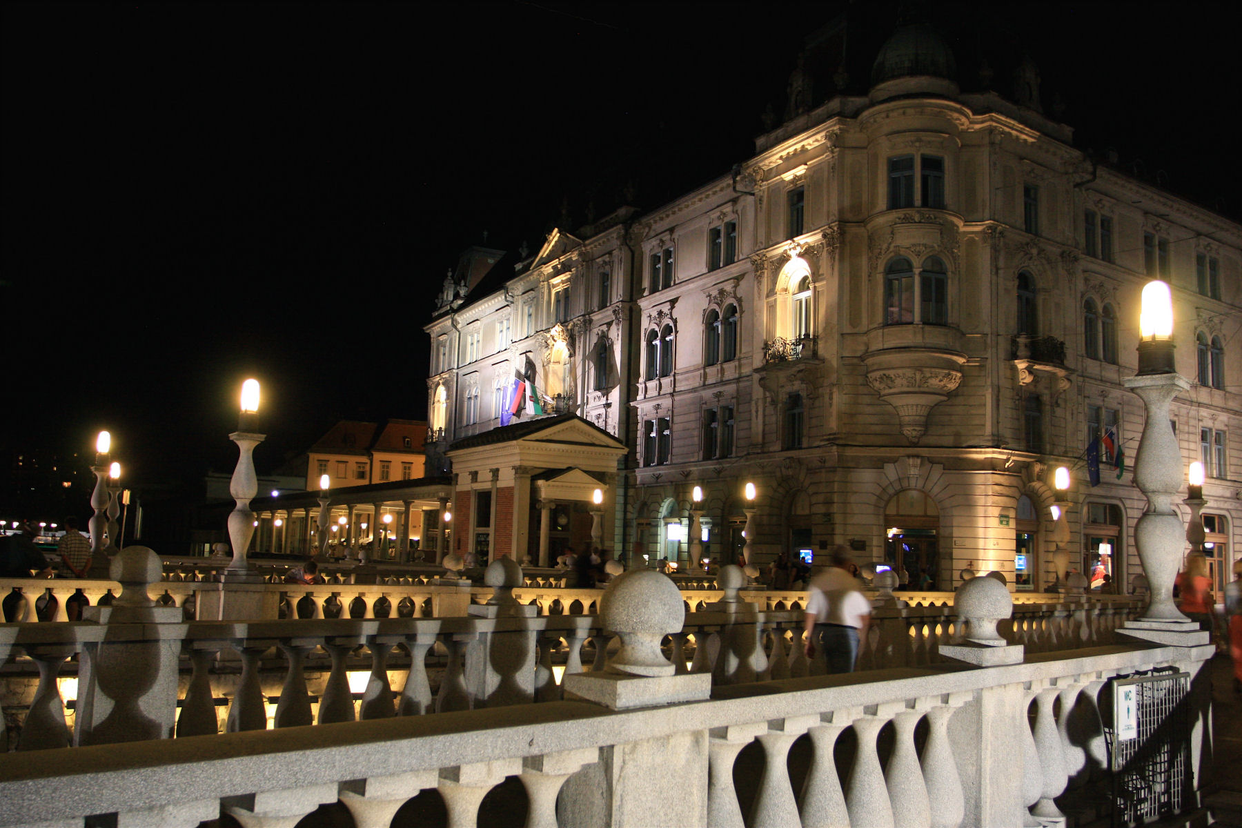 Ljubljana with its triple bridge is a charming city especially when lit up at night