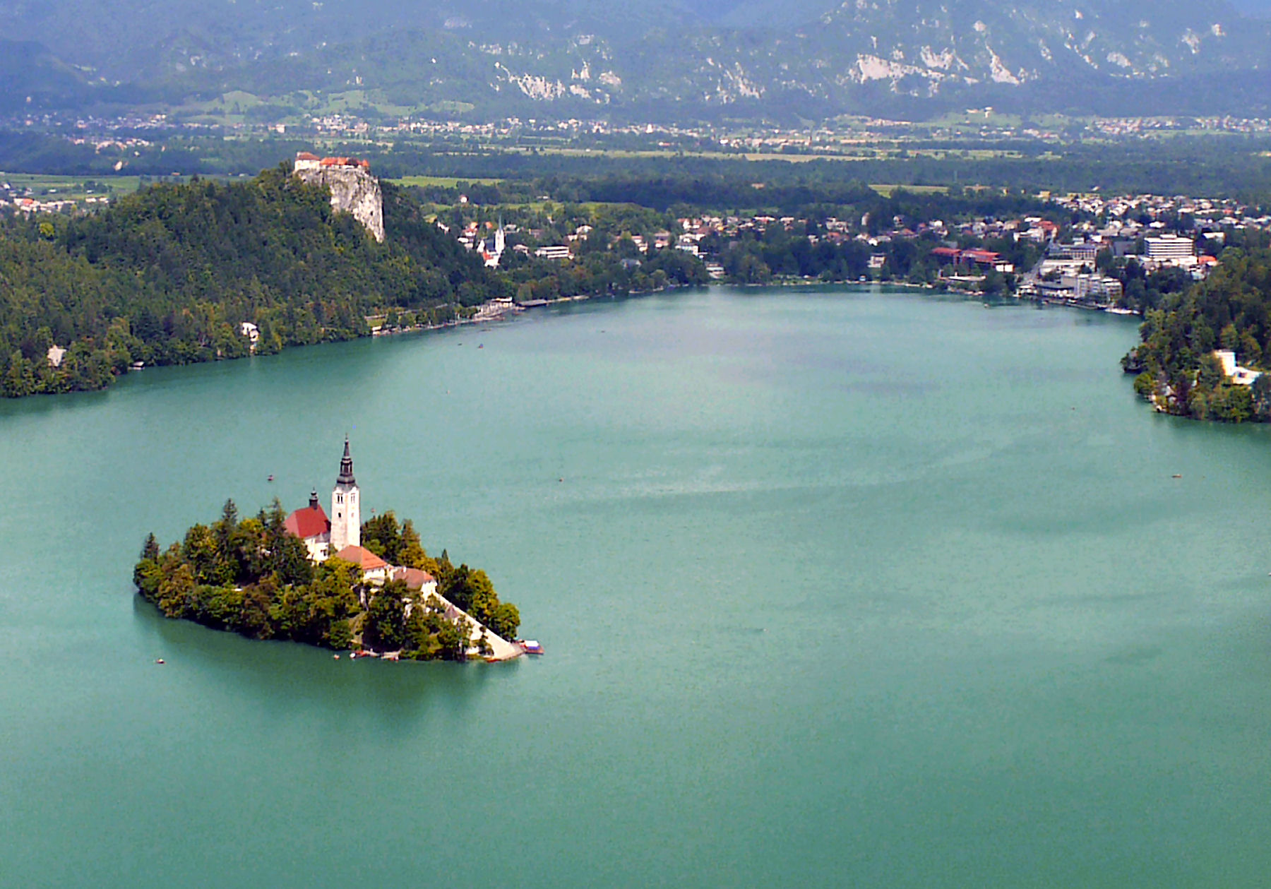 Lake Bled with an island and Bled castle from the Ojstrica view point