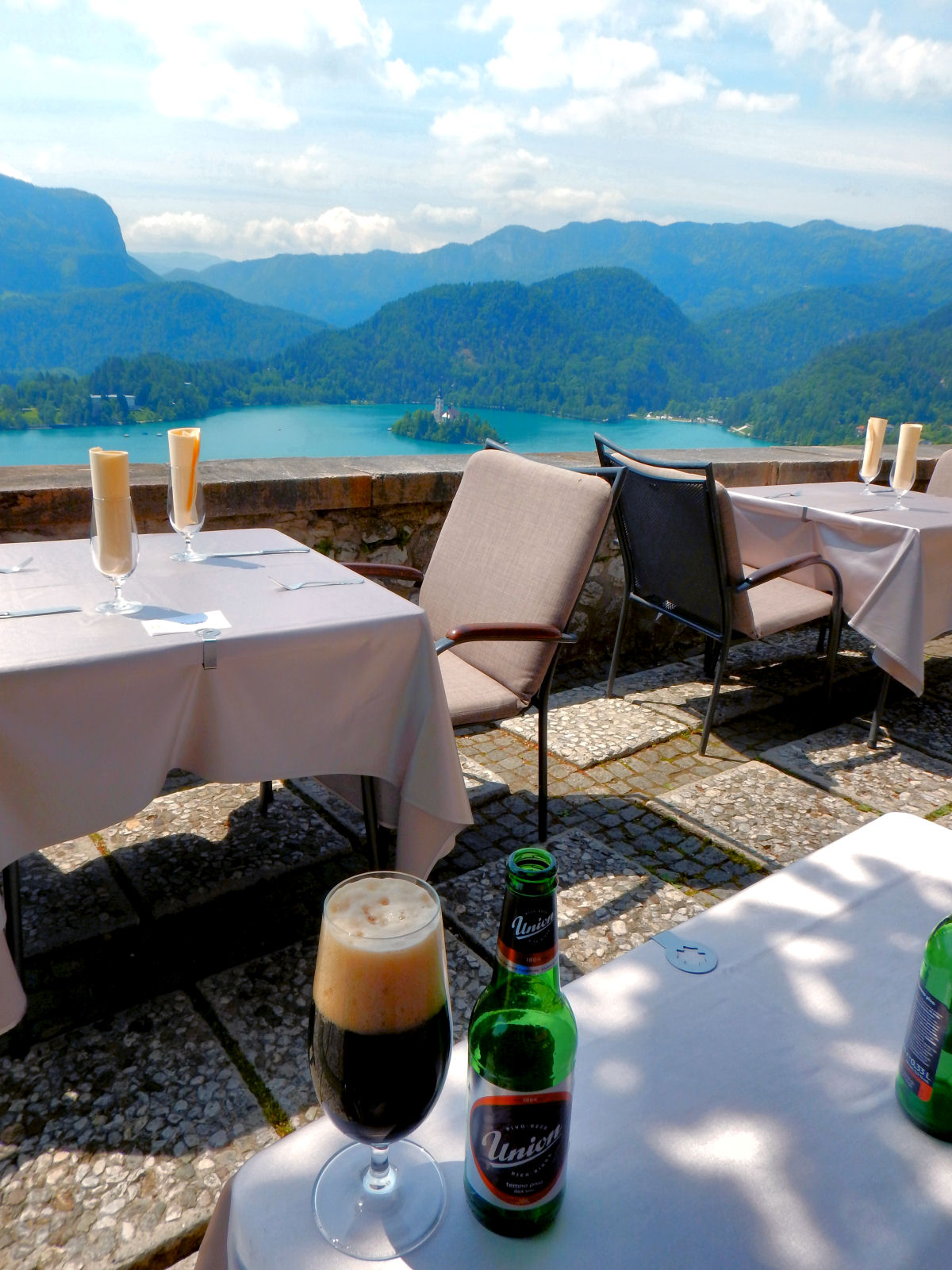 Castle Restaurant offers stunning views over the lake and Slovenian Alps