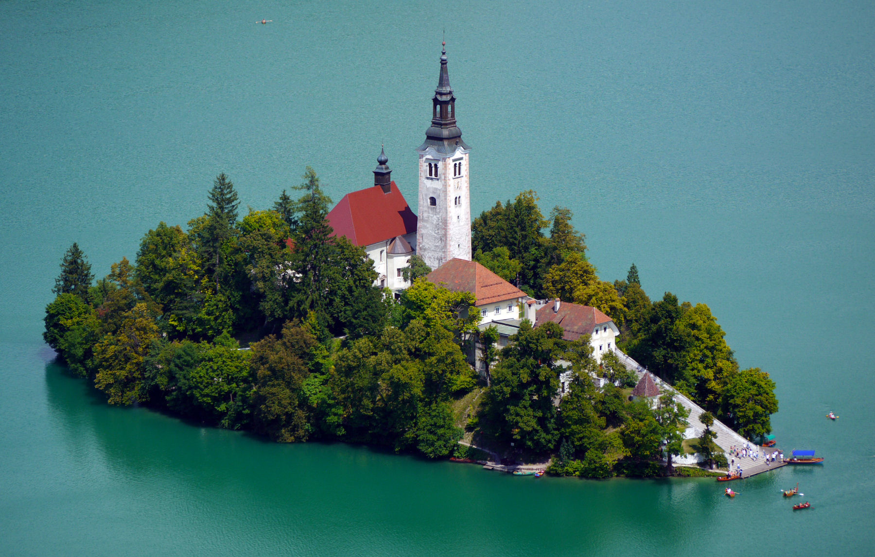 The iconic Church of the Assumption of Mary on an island in the middle of Lake Bled