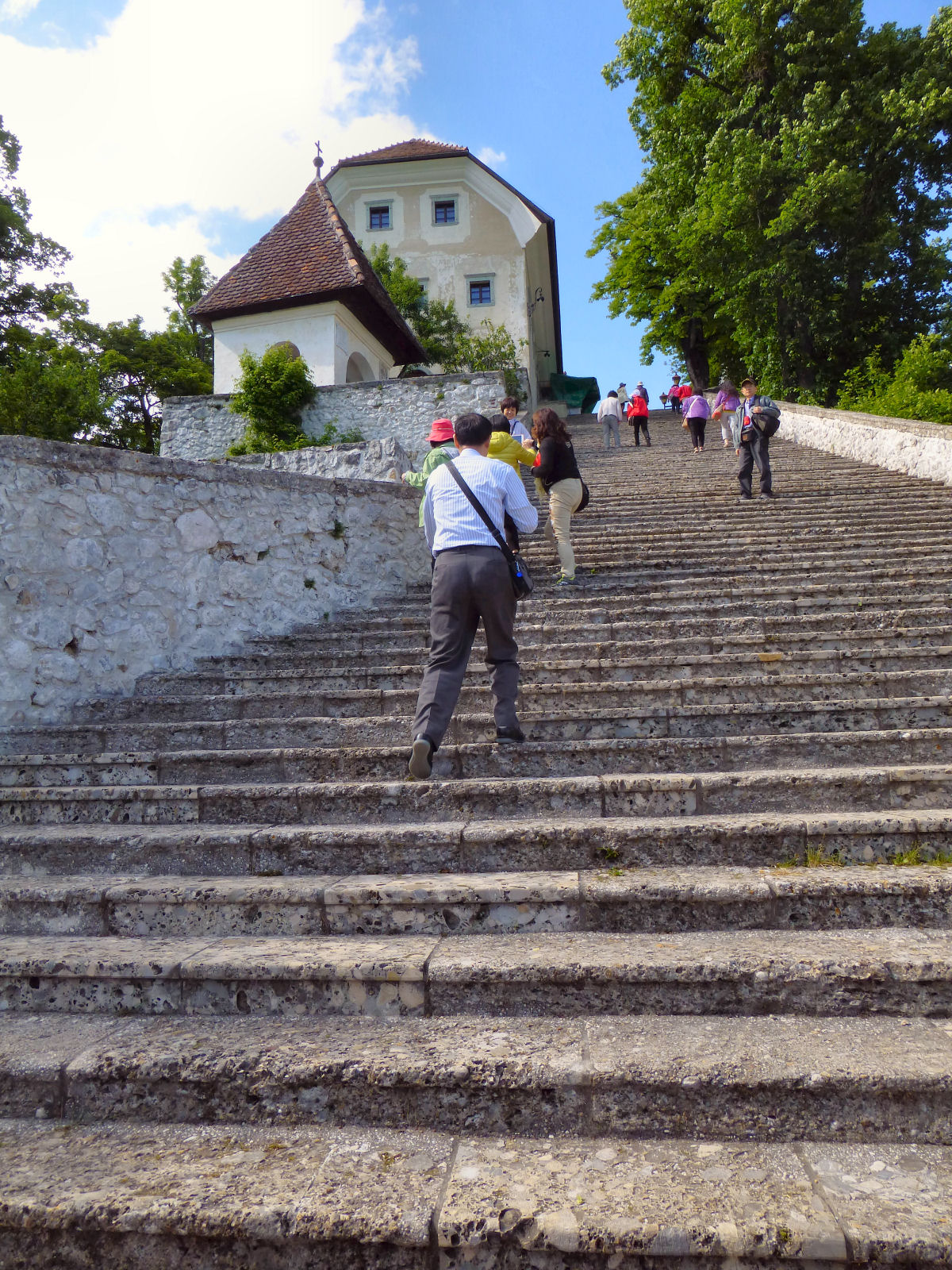 99 stairs to the Pilgrimage Church of the Assumption of Mary on the Bled island