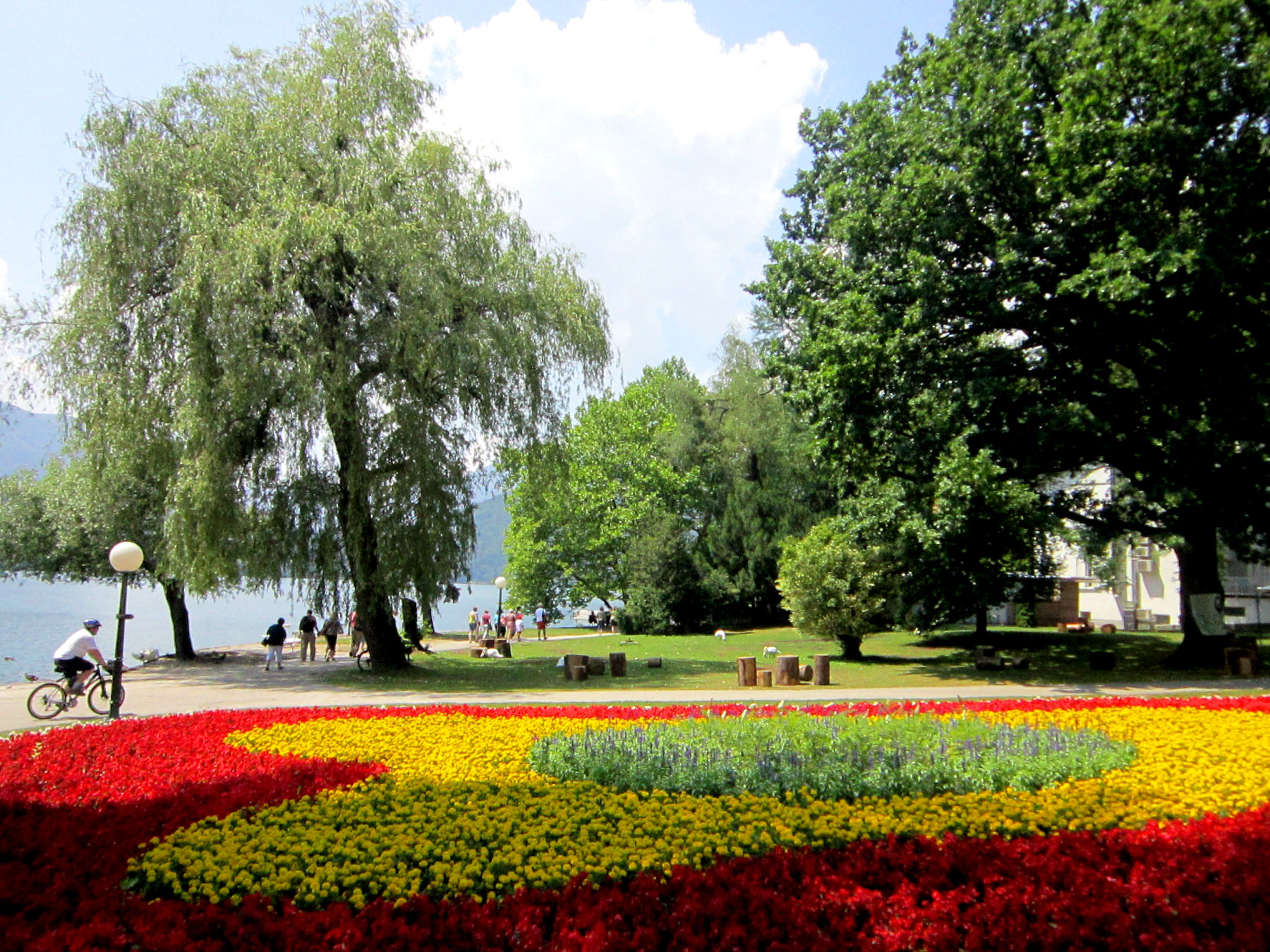 A view of Lake Bled from a garden front