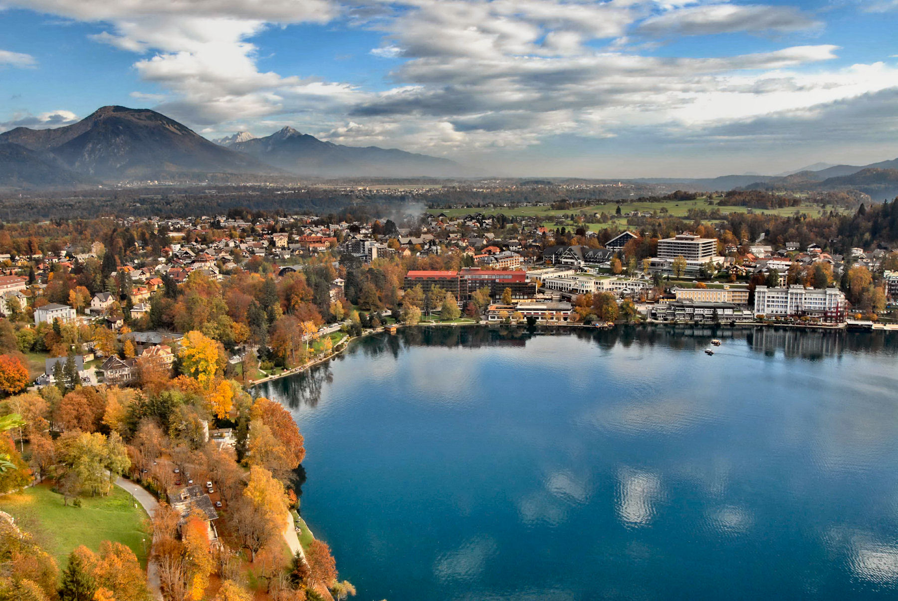 The town of Bled and Lake Bled from the Bled Castle