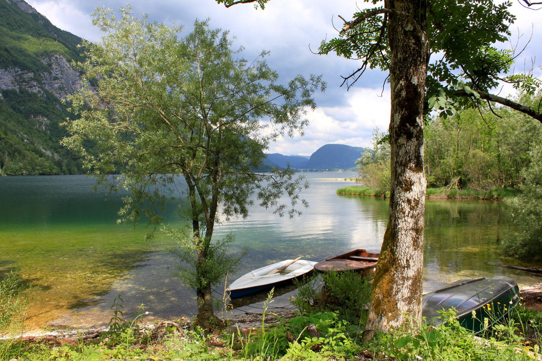 Some boats at Lake Bohinj in Slovenia