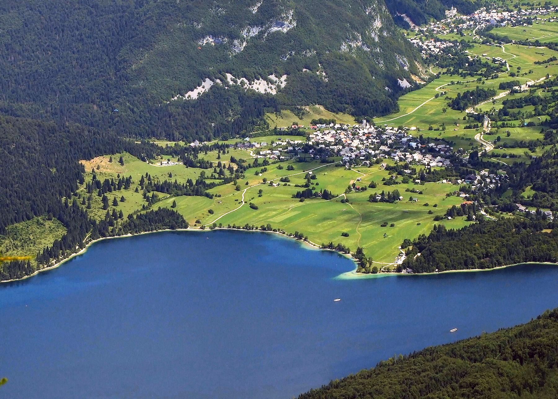 View on Lake Bohinj from Vogel Mountain