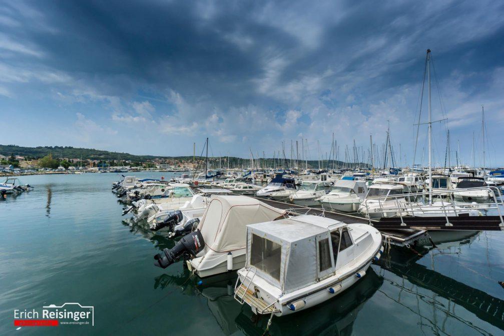 Boats in the Izola Marina in the Adriatic Sea in Slovenia