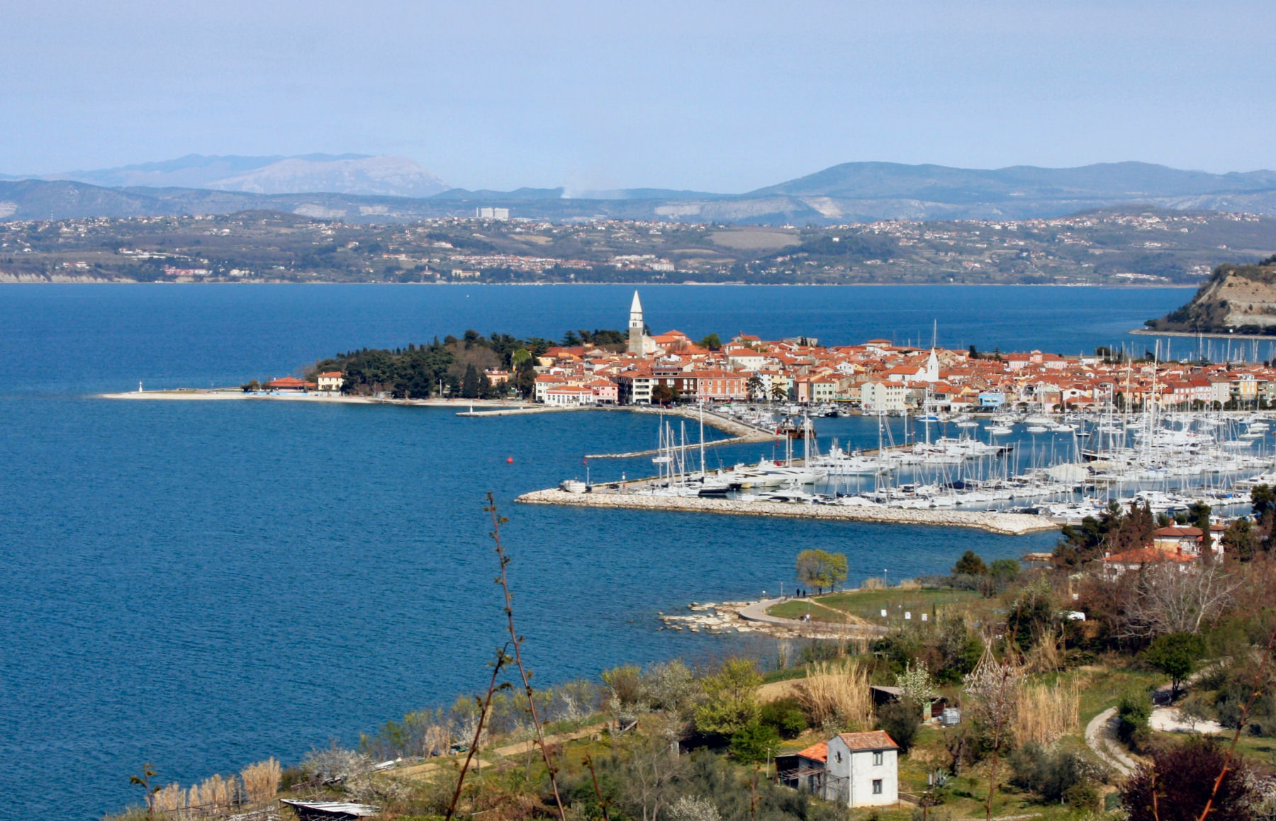 A panoramic shot of the old Mediterranean town of Izola in southwestern Slovenia