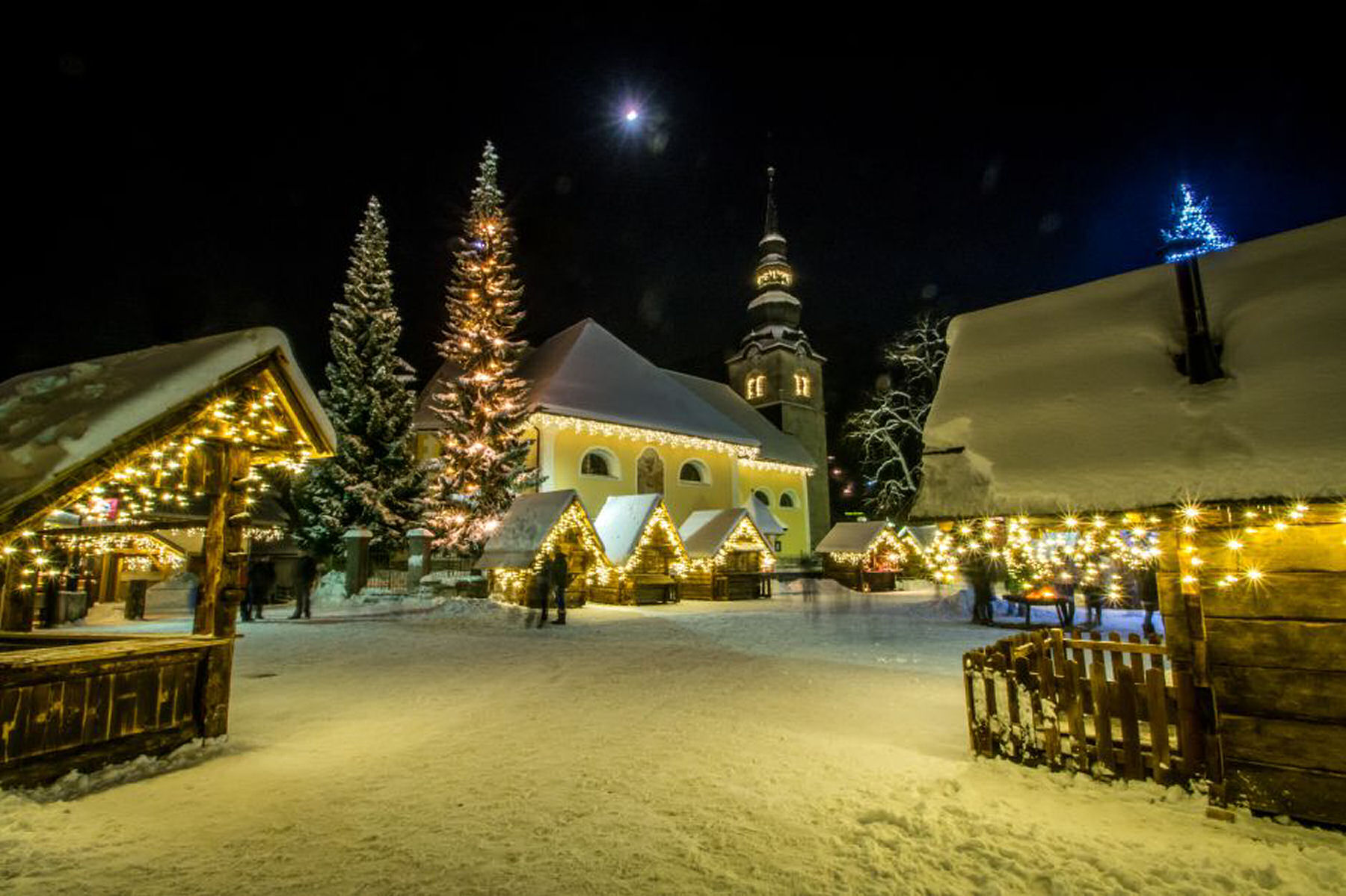 The centre of Kranjska Gora adorned with Christmas lights and decorations during the festive season