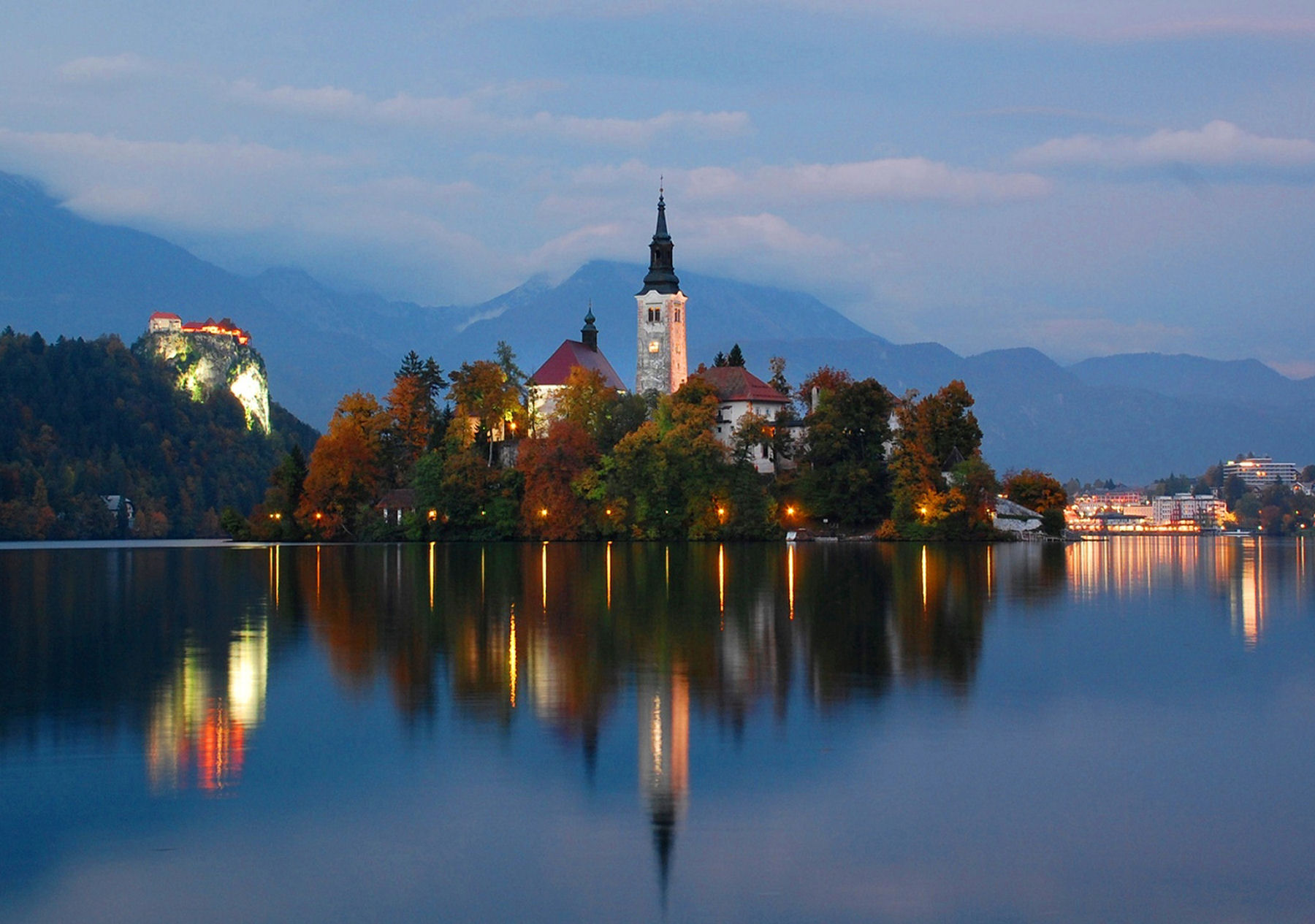 Lake Bled, Slovenia, taken from western end of lake at twilight