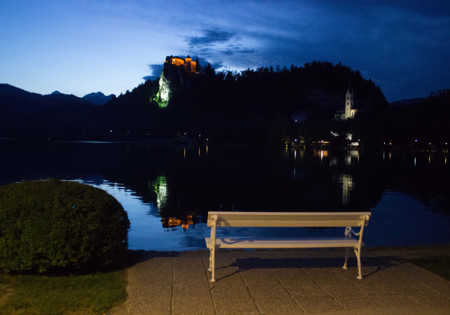 Bled castle and lake at night