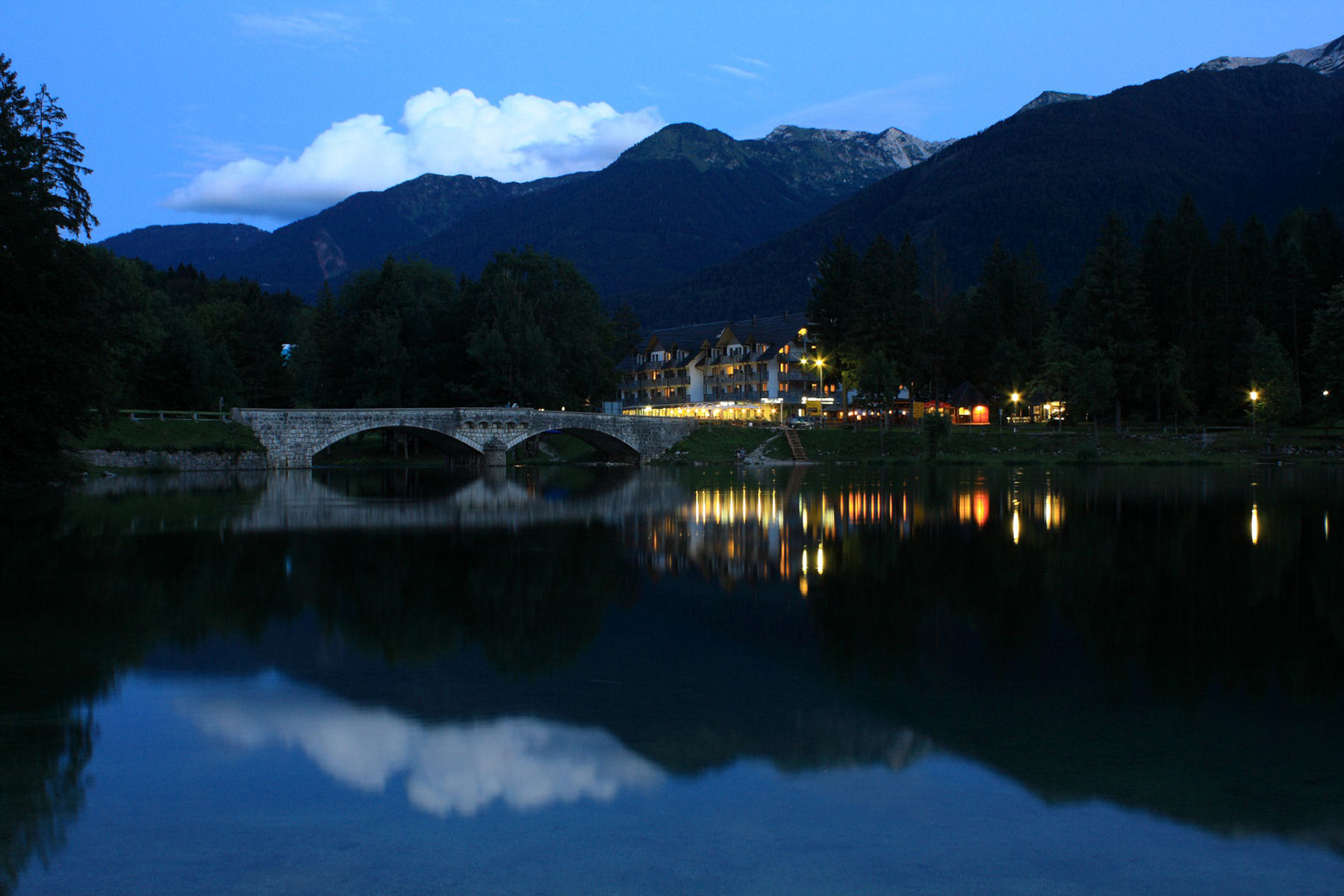 A walk by Lake Bohinj when lit up at night is truly magical
