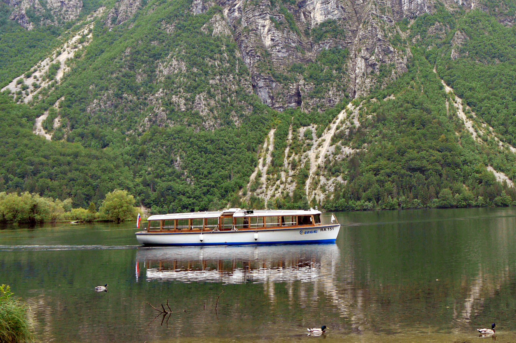 The tourist boat on Lake Bohinj is electric and environmentally friendly