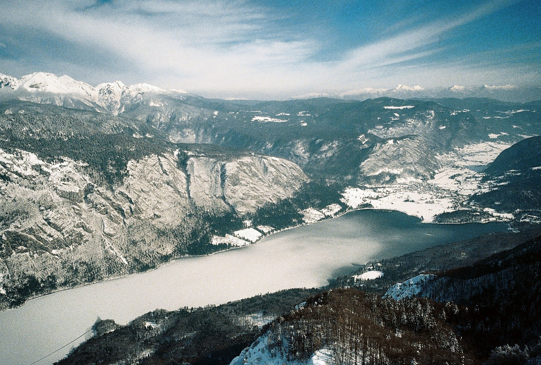 A winter view on Lake Bohinj from Vogel Mountain