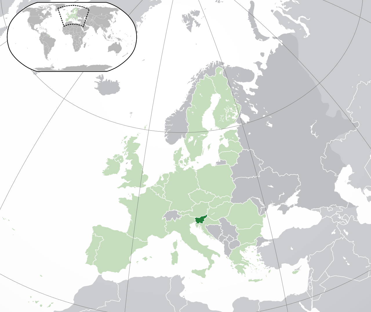 Location of Slovenia - it's situated in Central Europe