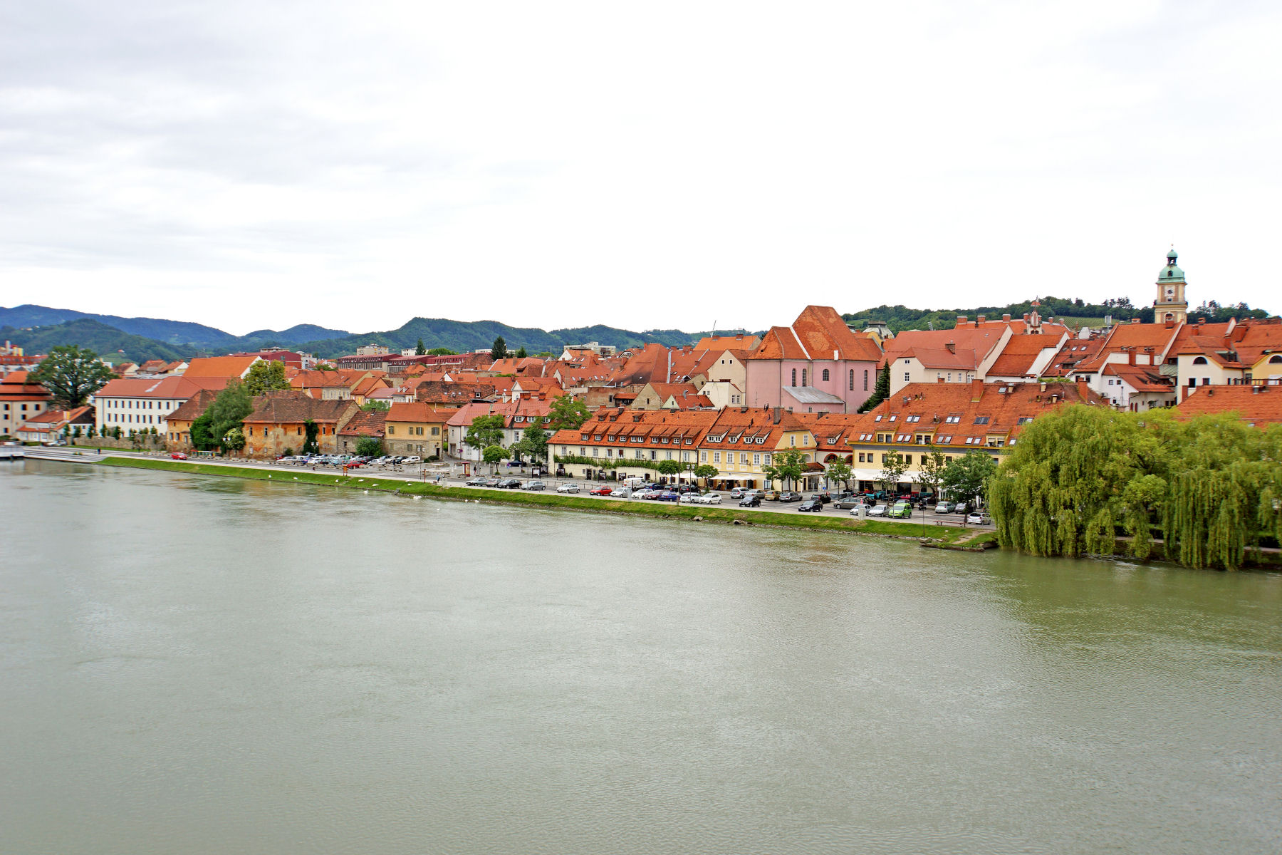 The beautiful  Old Town of Maribor along the Drava River in Slovenia