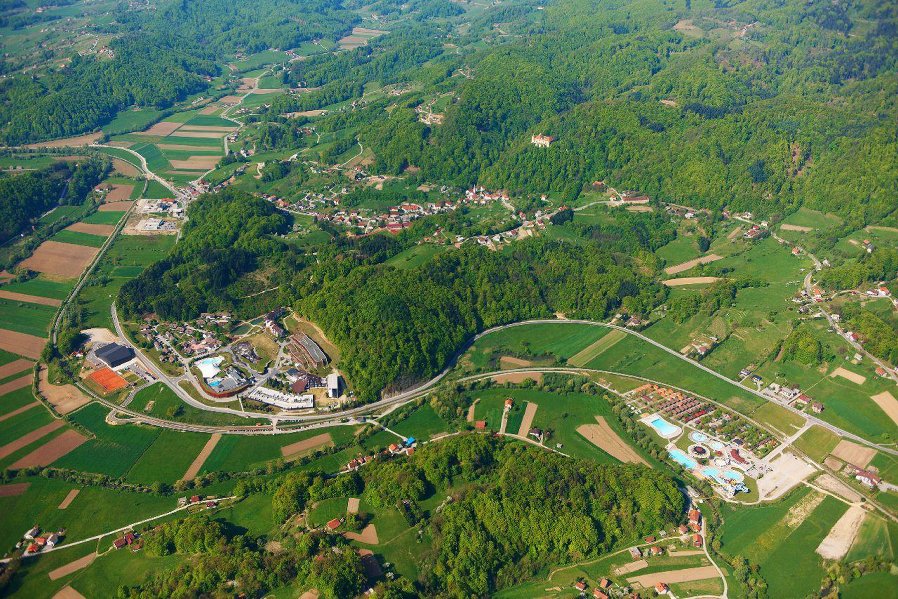 The village of Podcetrtek and the Terme Olimia thermal spa