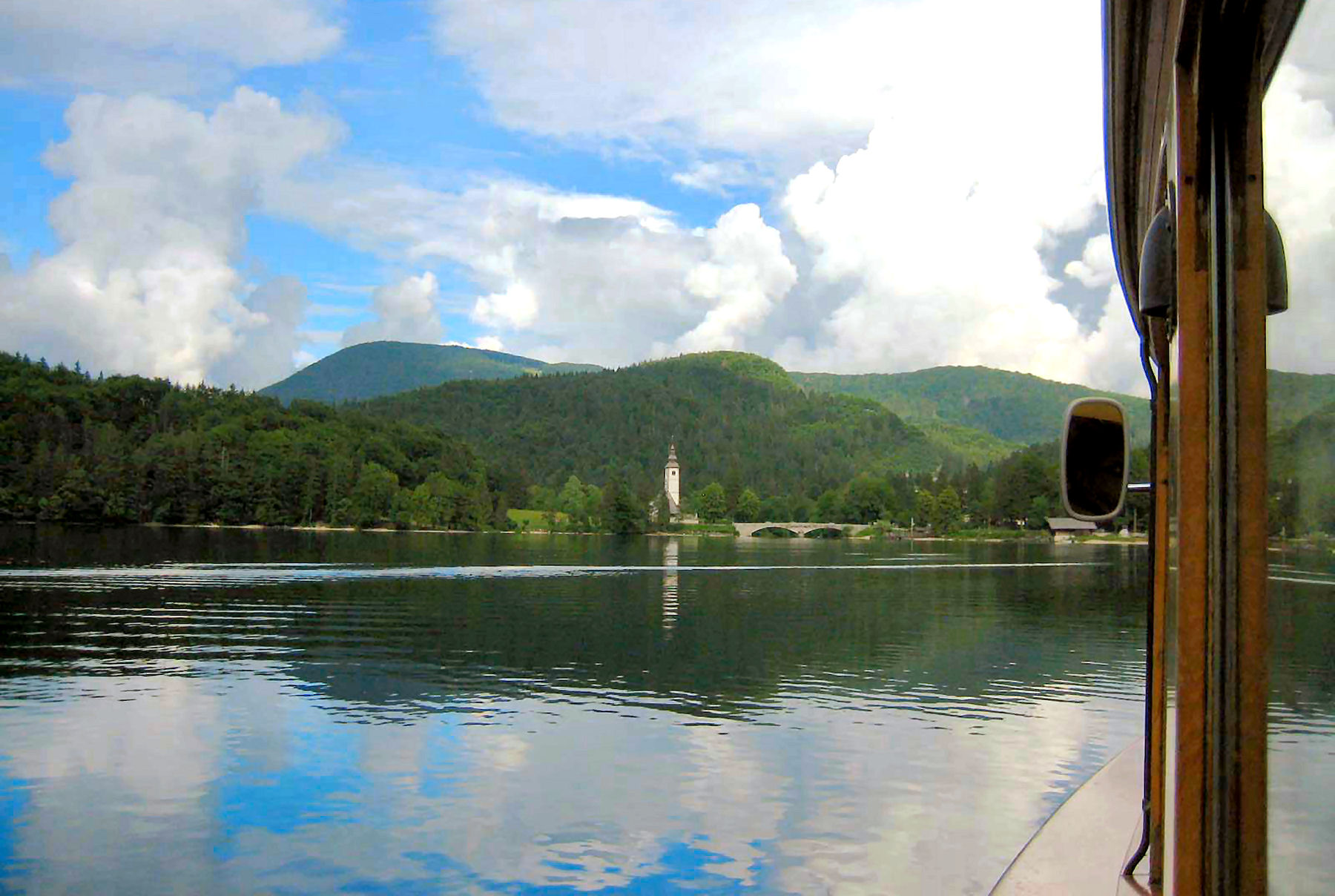 View from tourist boat on Lake Bohinj