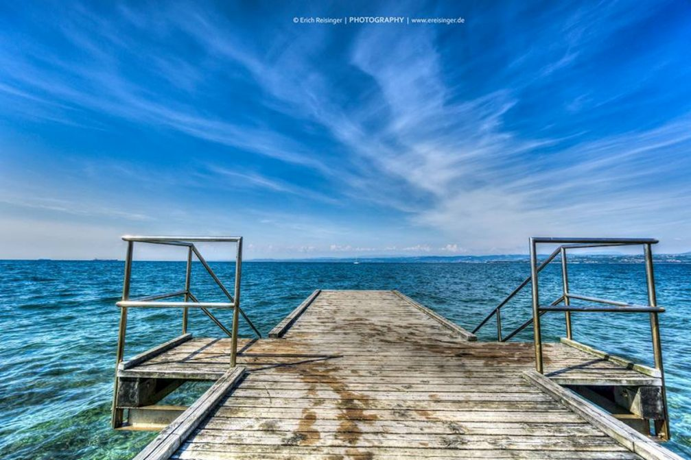 A view of the Adriatic Sea from a wooden dock in Izola, Slovenia