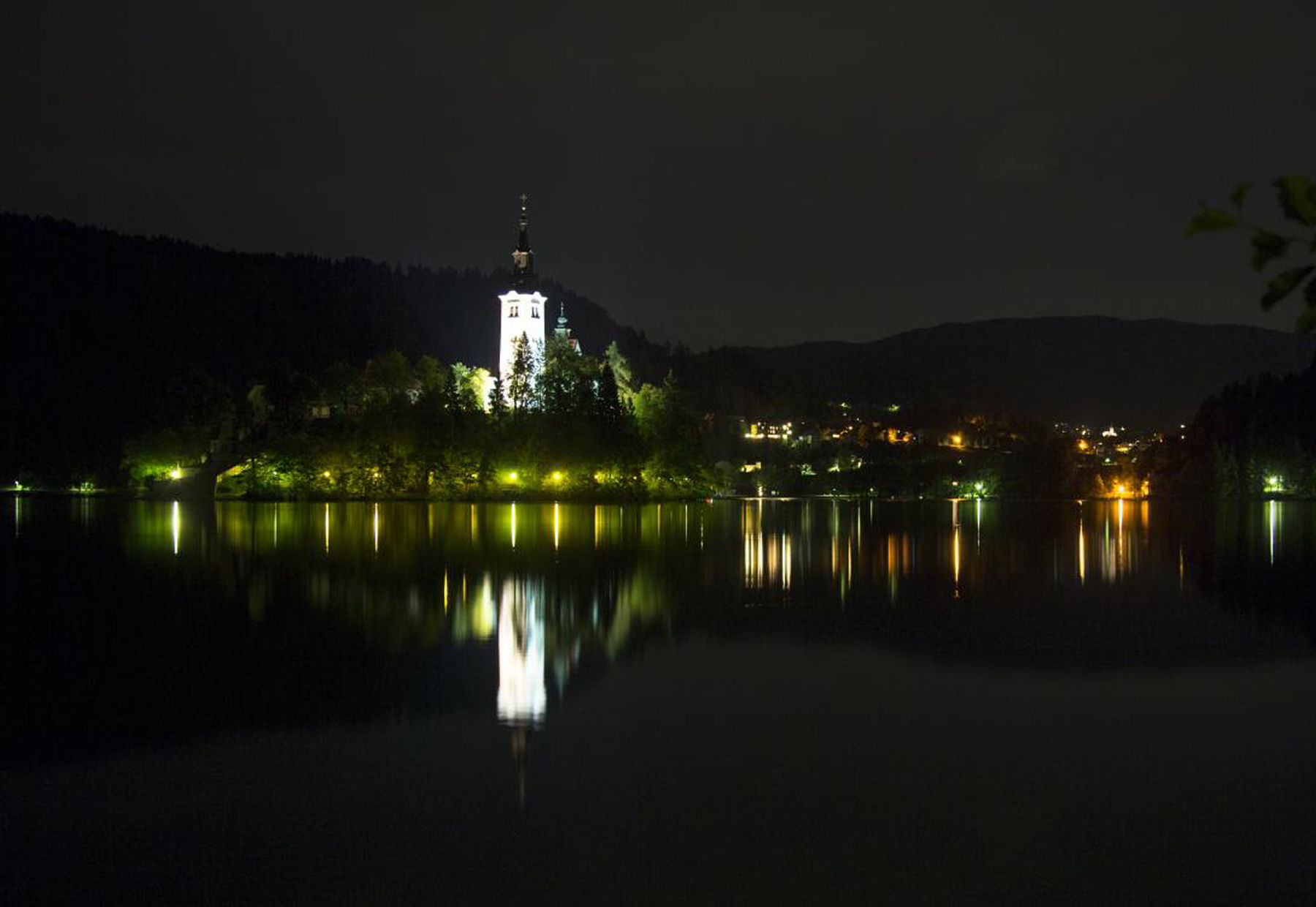 Night shot of Bled Island on Lake Bled in Slovenia