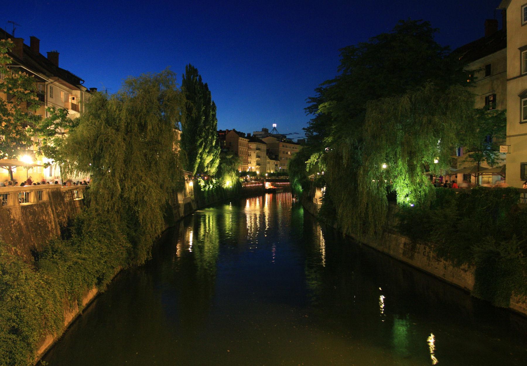 Ljubljana and river Ljubljanica at night