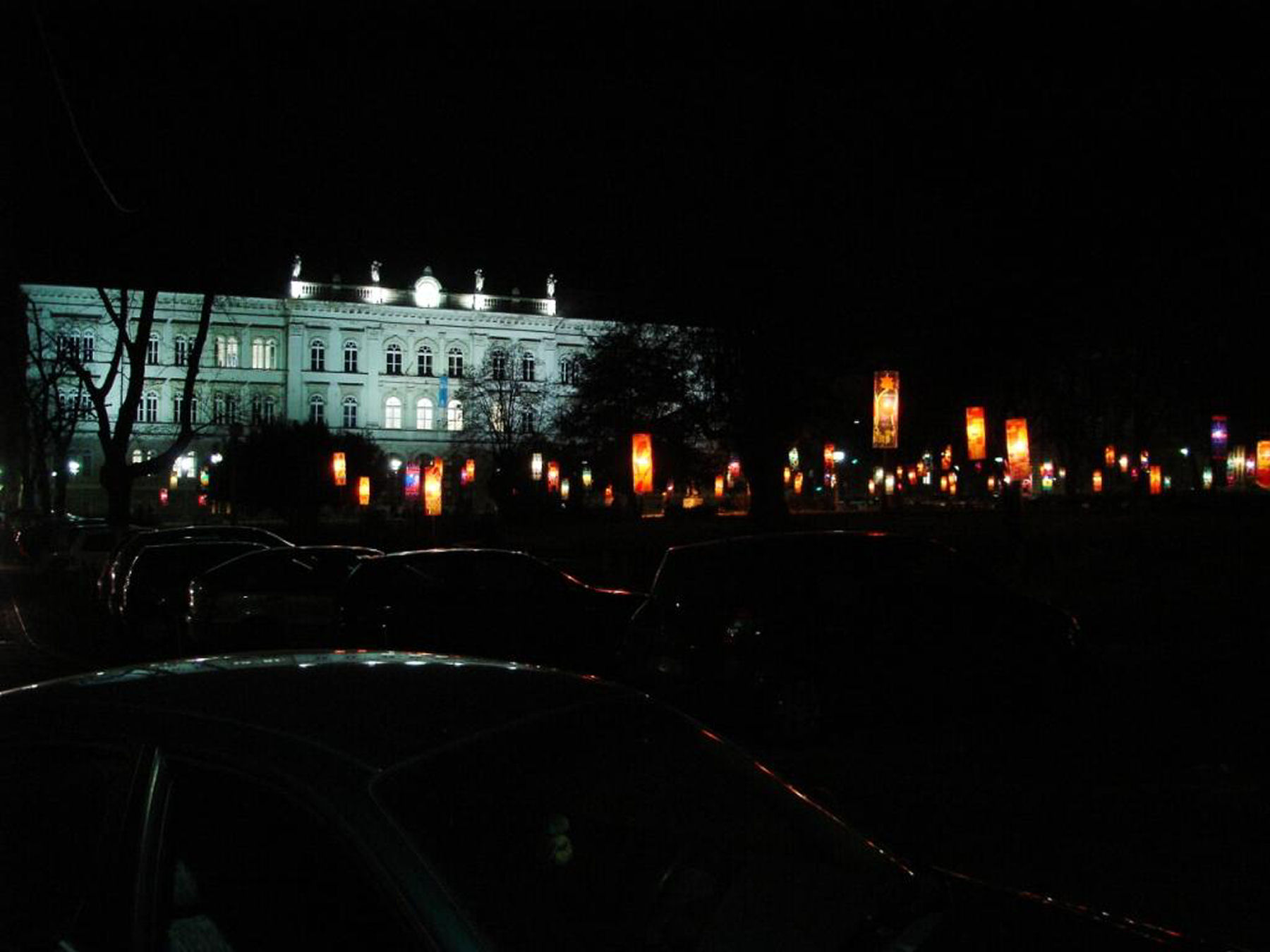 Chinese lanterns on the General Maister square in Maribor, Slovenia