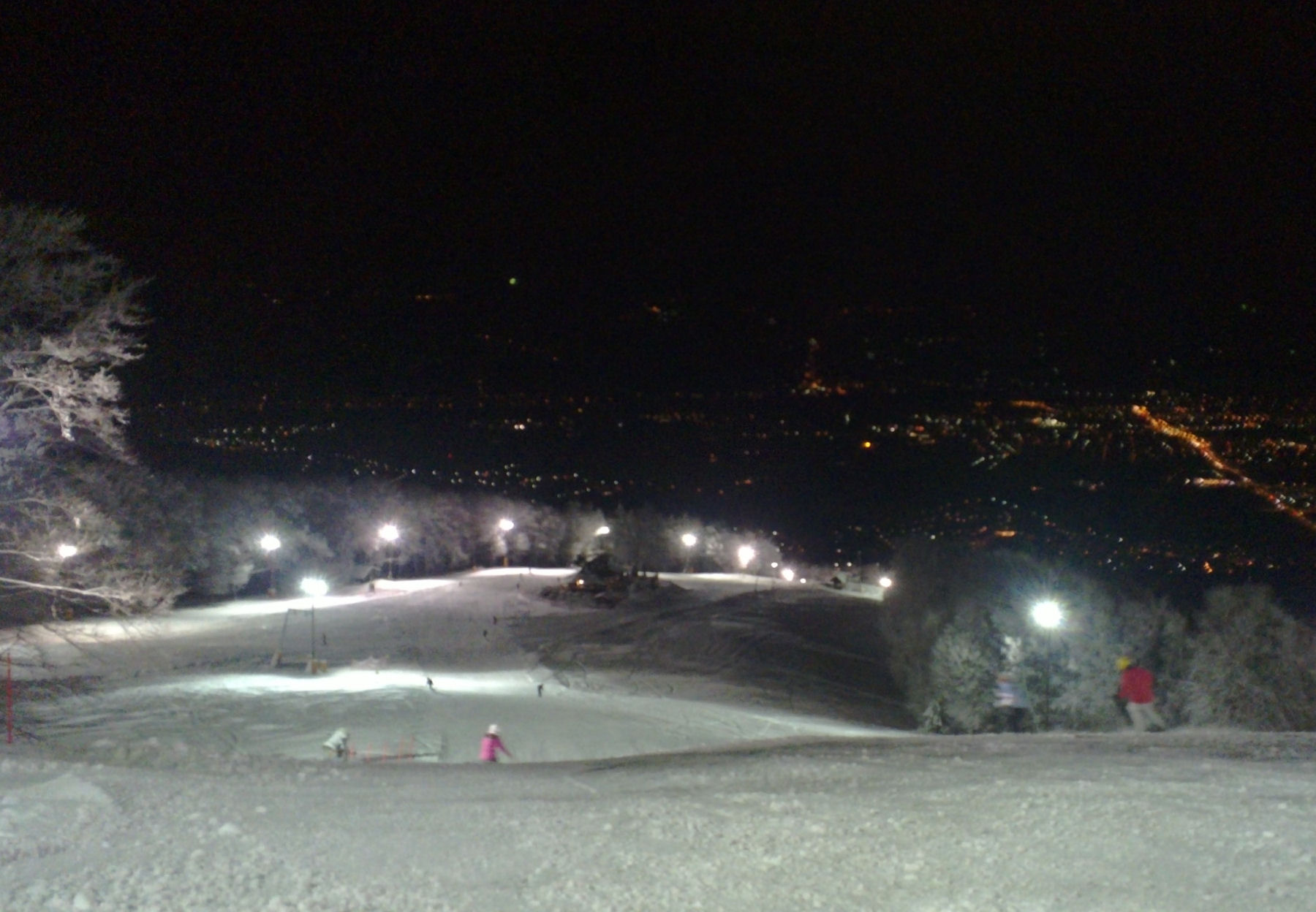 Night skiing at Mariborsko Pohorje ski resort in Maribor, Slovenia