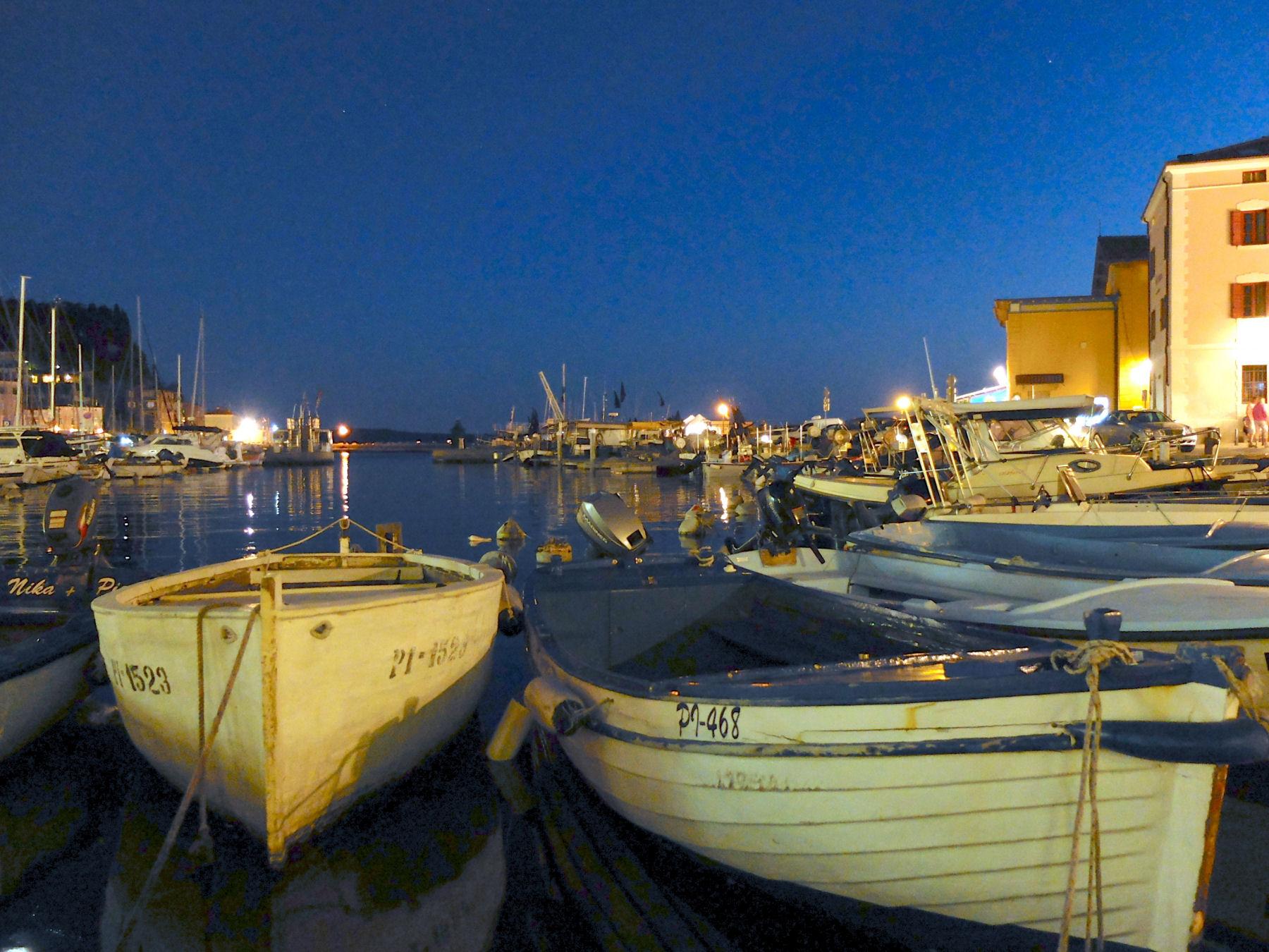 Piran Harbour at night