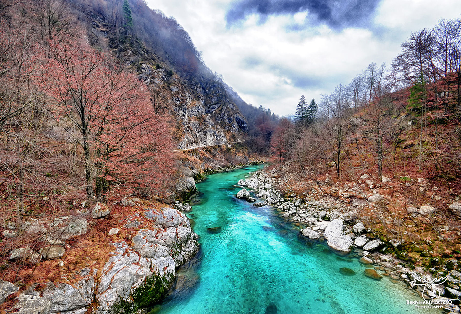 Autumn at the Soca River in the Slovenian Alps