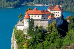 Bled Castle above Lake Bled, Slovenia