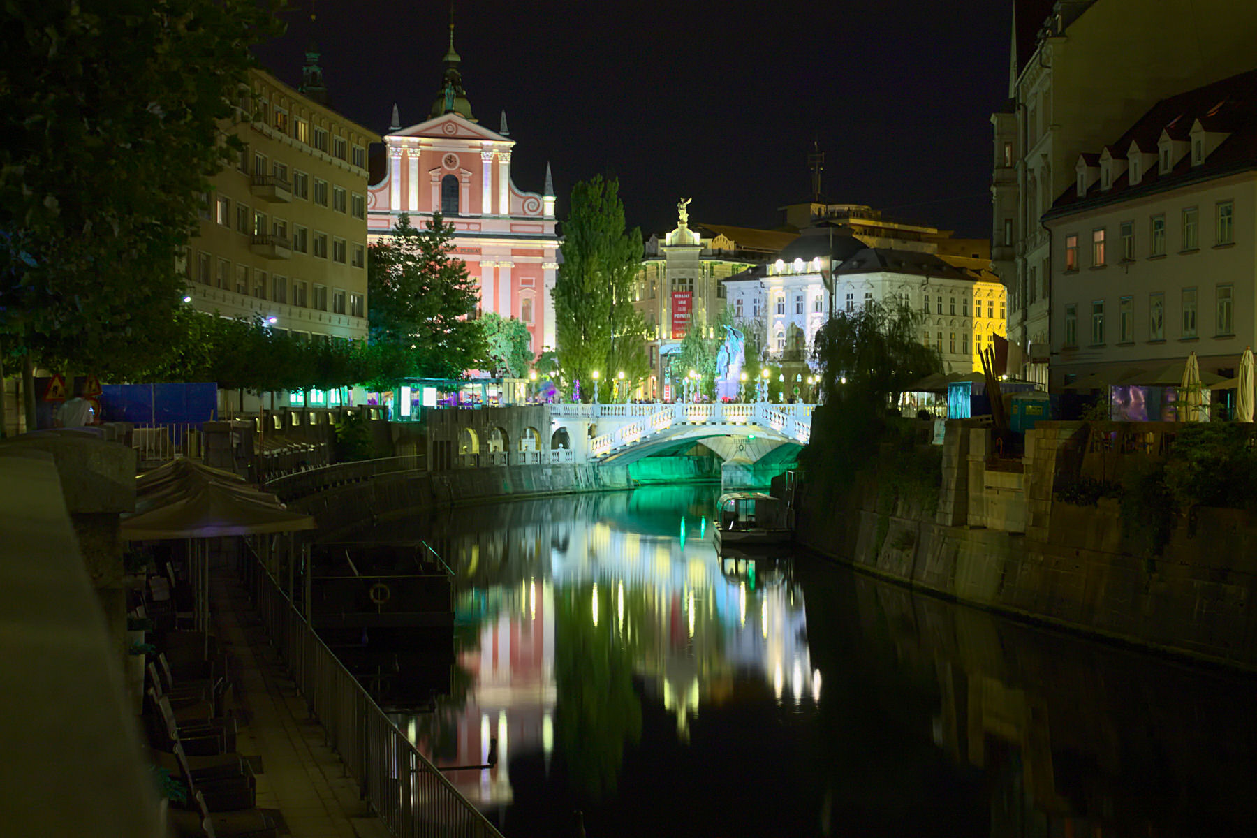 Night view of Three Bridges and Ljubljana Old Town, Slovenia