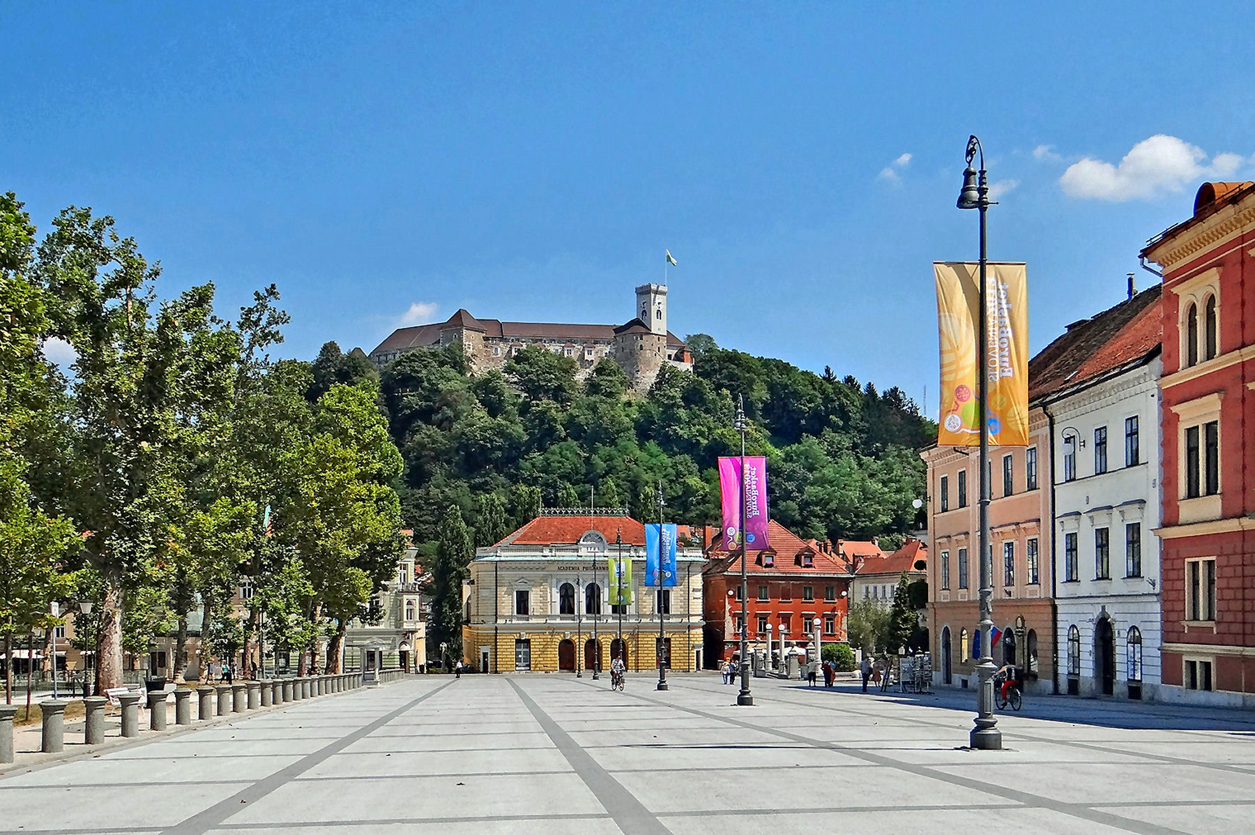 The view of the Ljubljana castle from the Congress square is breathtaking