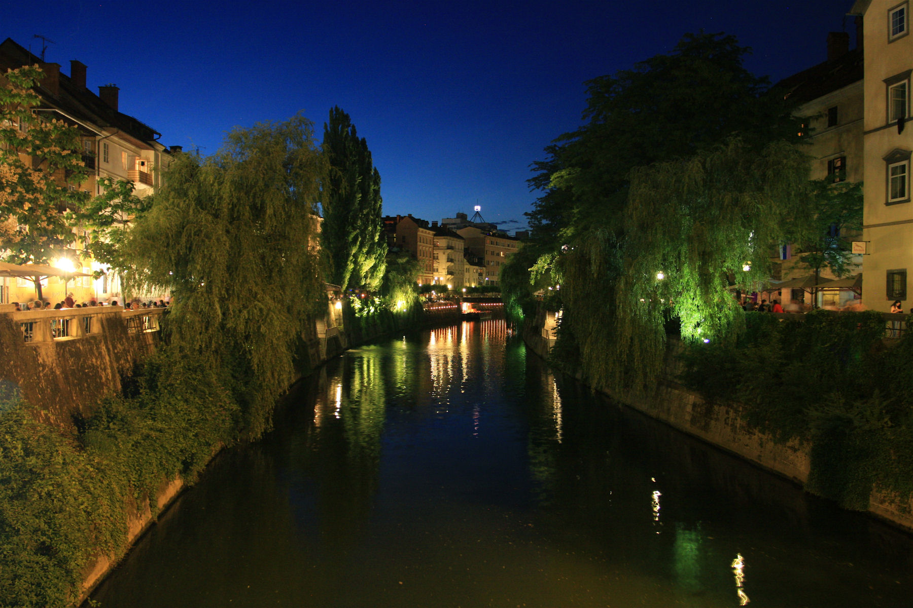 River Ljubljanica through the old town of Ljubljana, Slovenia at night