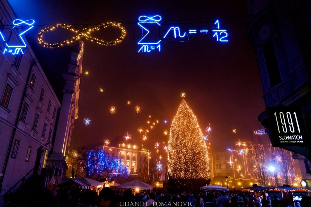 Preseren Square in Ljubljana's Old Town adorned with Christmas lights
