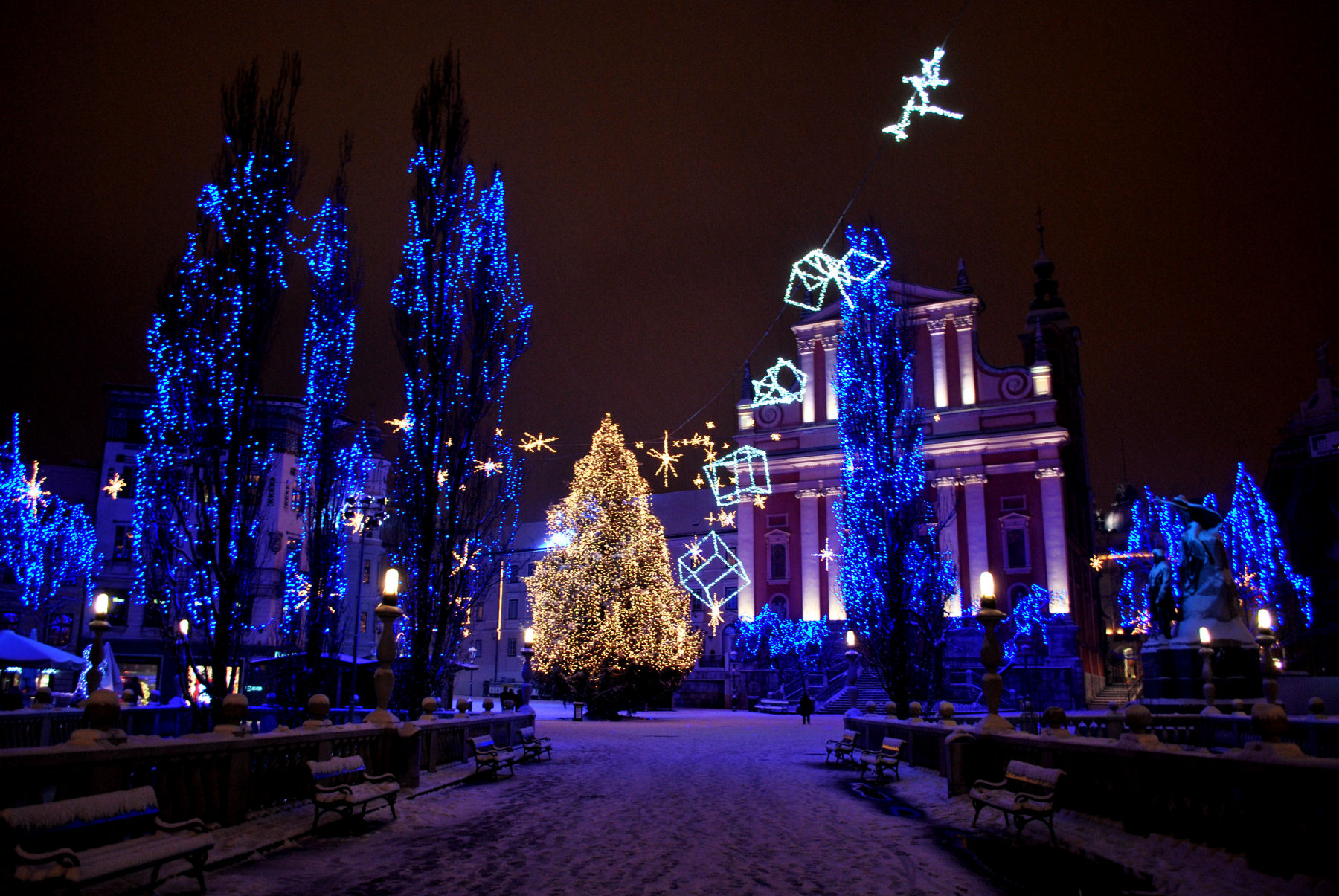 Every December, the Preseren square in Ljubljana is adorned with lights and Christmas decorations