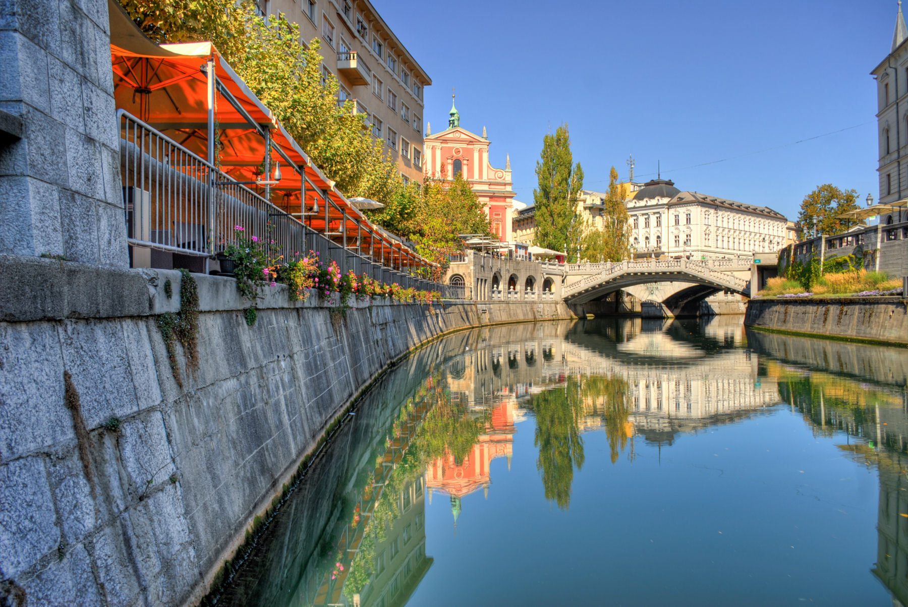 Triple bridge is the center of the Ljubljana old historic city center