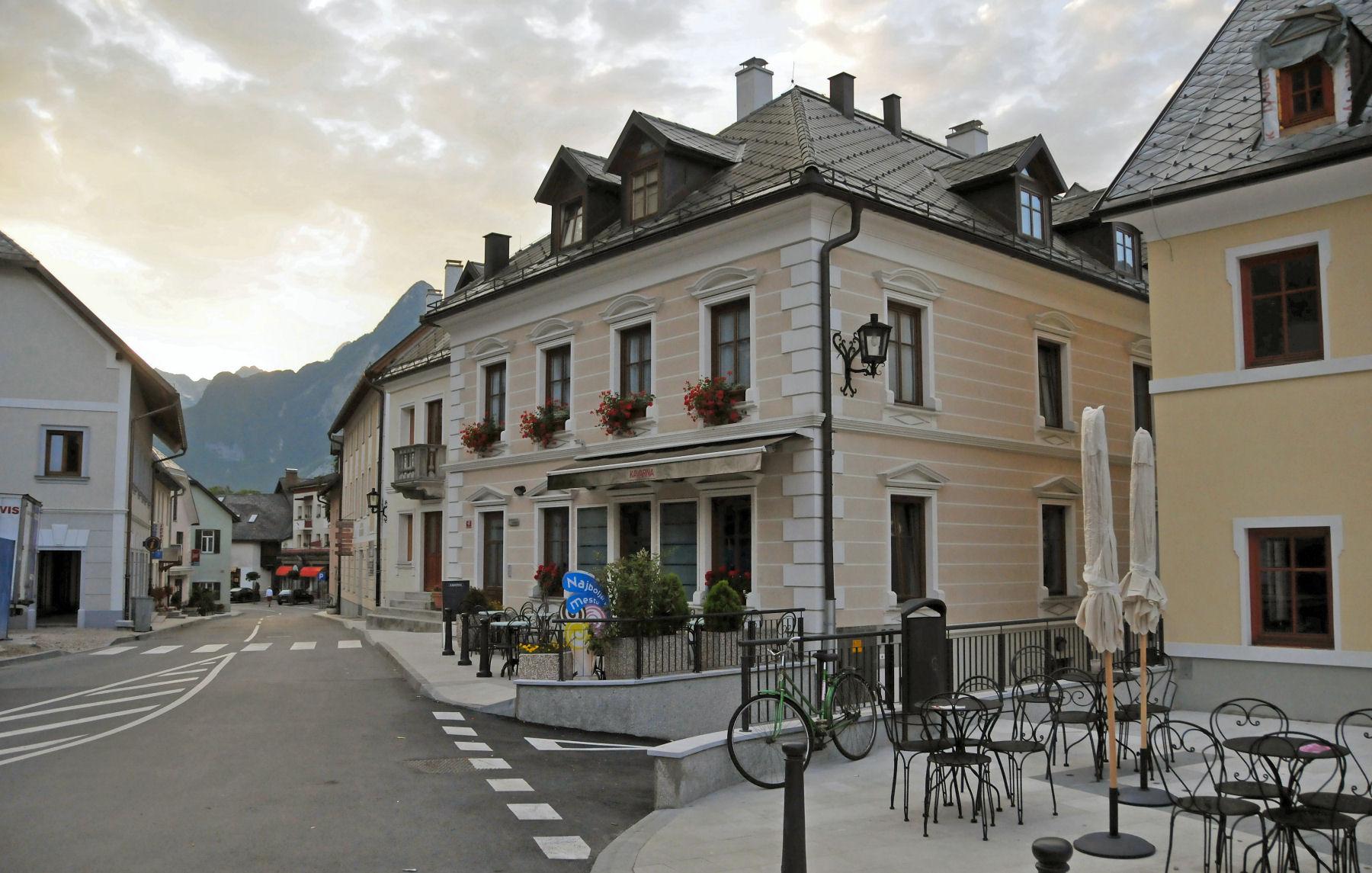 Bovec town centre in Slovenia